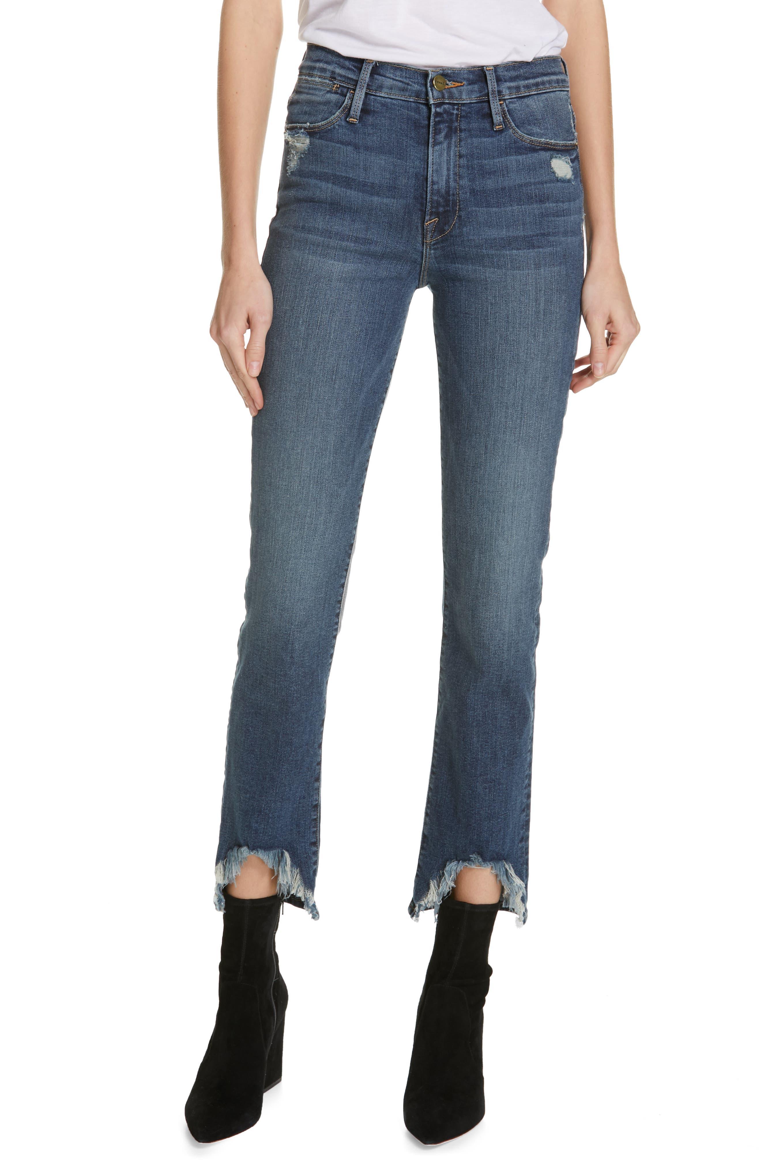 FRAME Le High Straight Curve Hem Jeans, Main, color, RUE