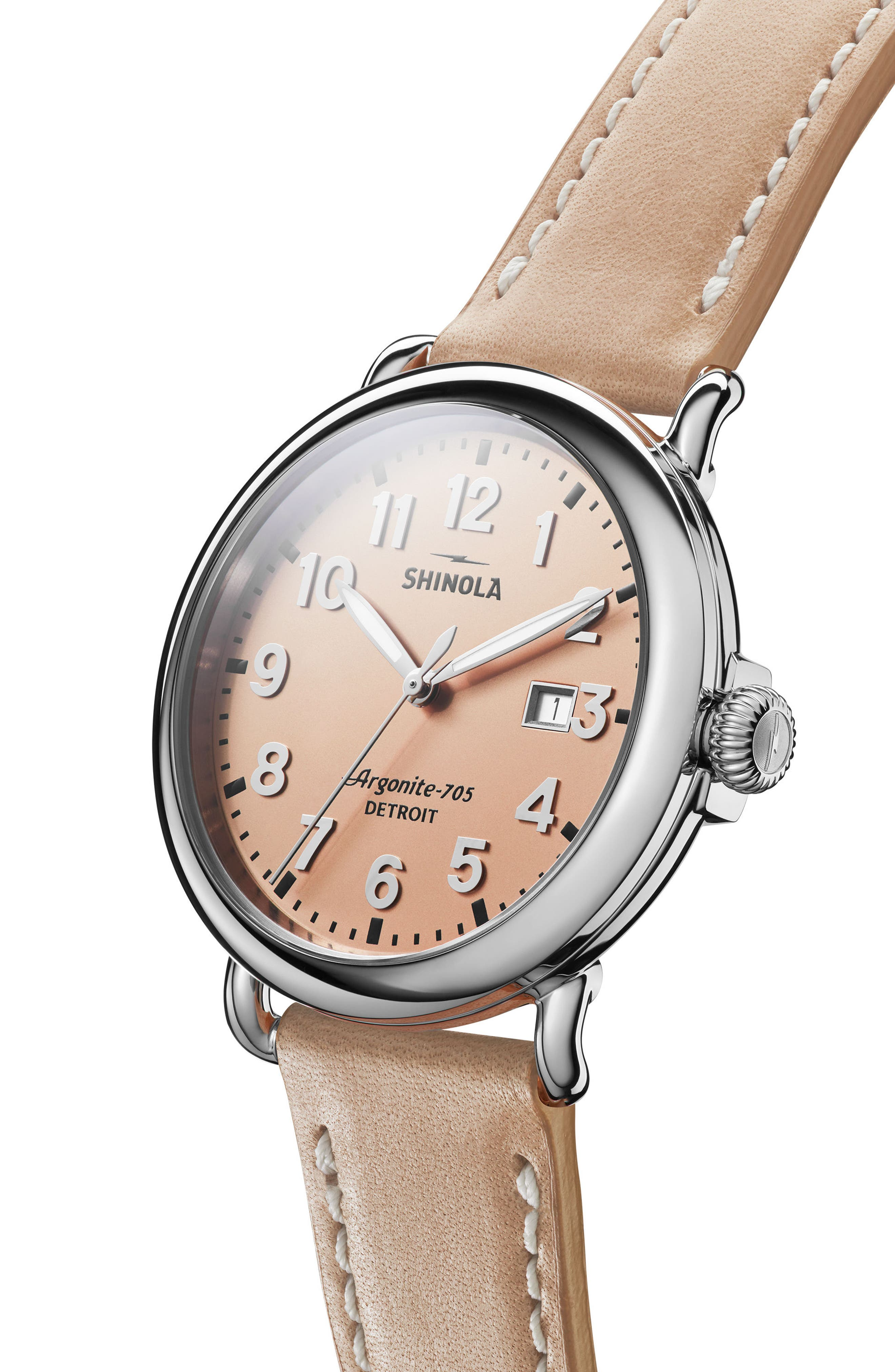 'Runwell' Leather Strap Watch, 41mm,                             Alternate thumbnail 5, color,                             NATURAL/ ROSE GOLD/ SILVER