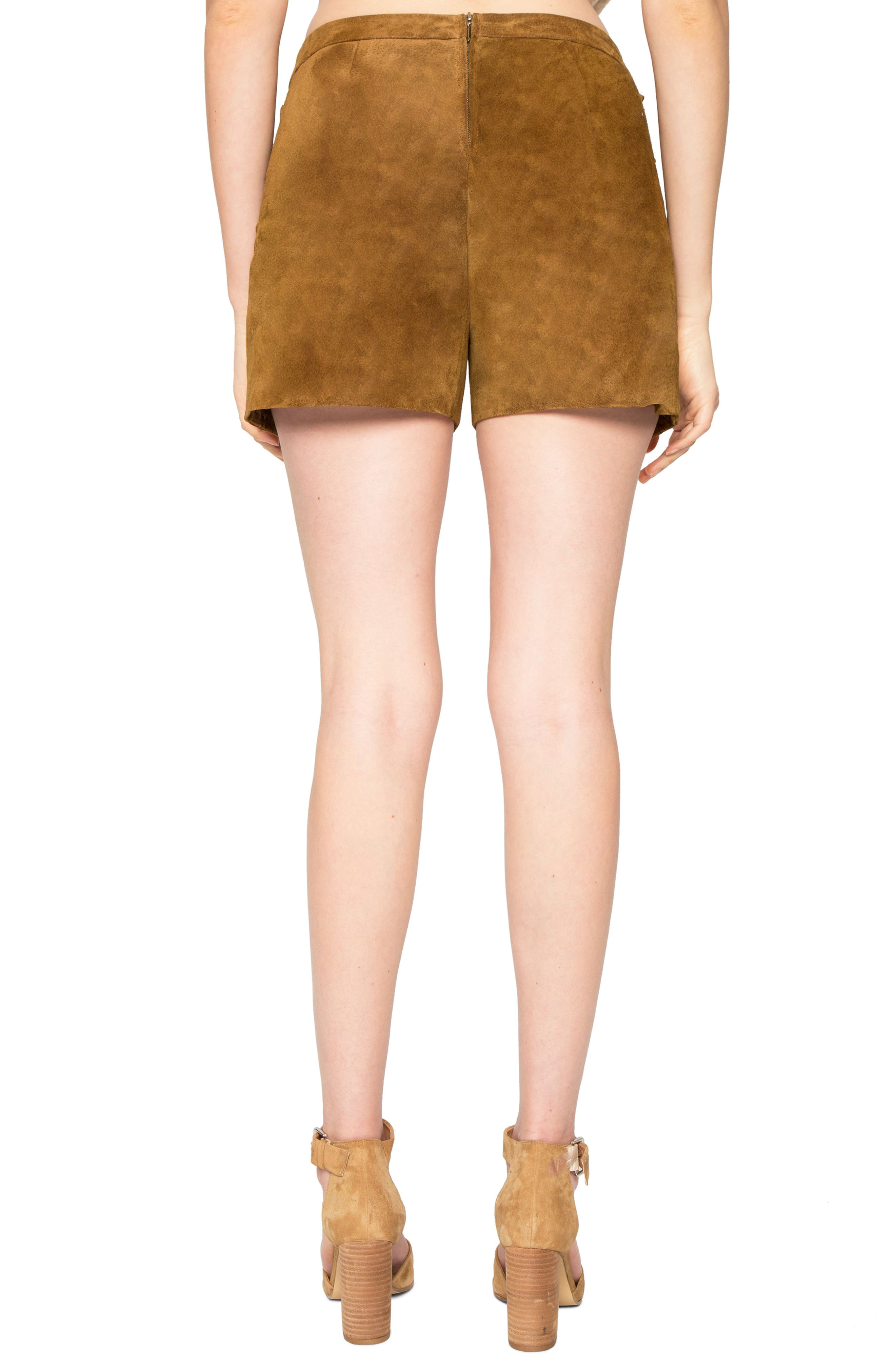 Side Lace-Up Suede Shorts,                             Alternate thumbnail 2, color,                             230