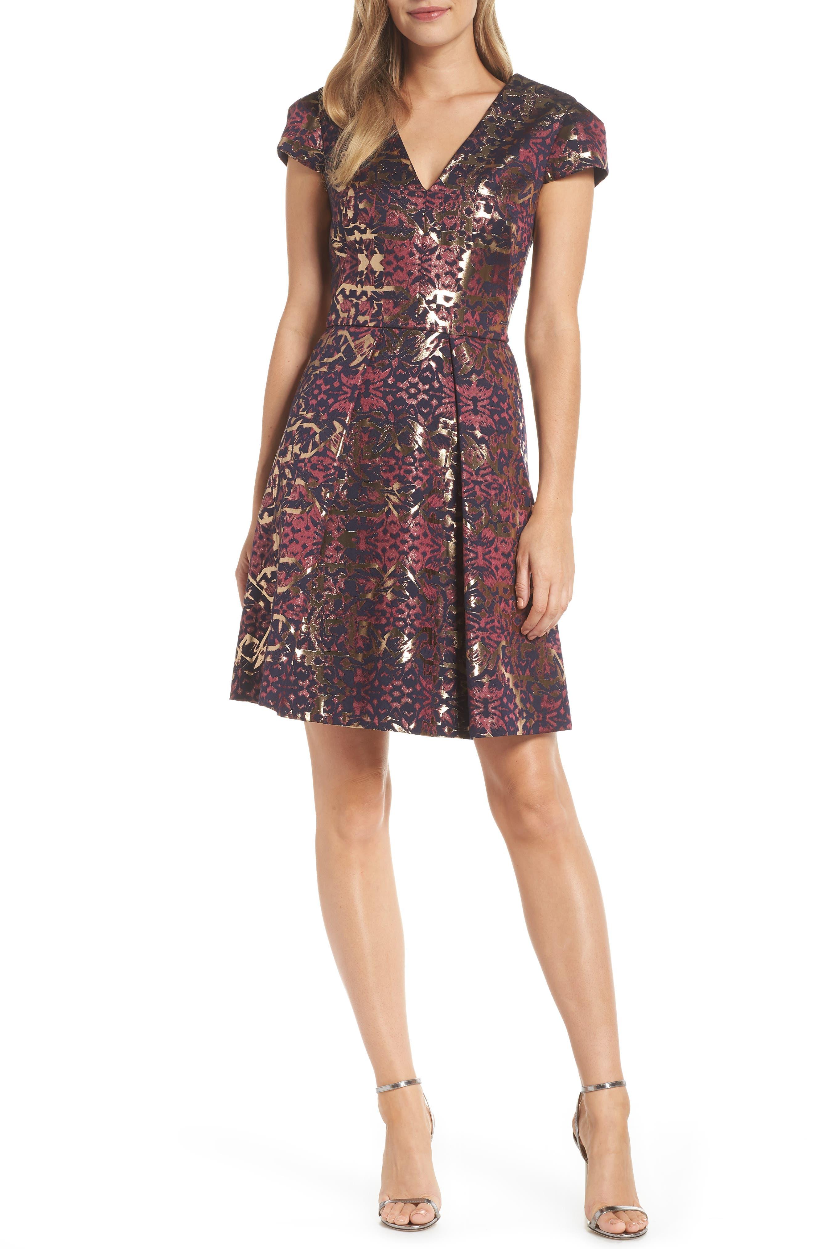 Metallic Jacquard Fit & Flare Dress,                             Main thumbnail 1, color,                             PINK MULTI