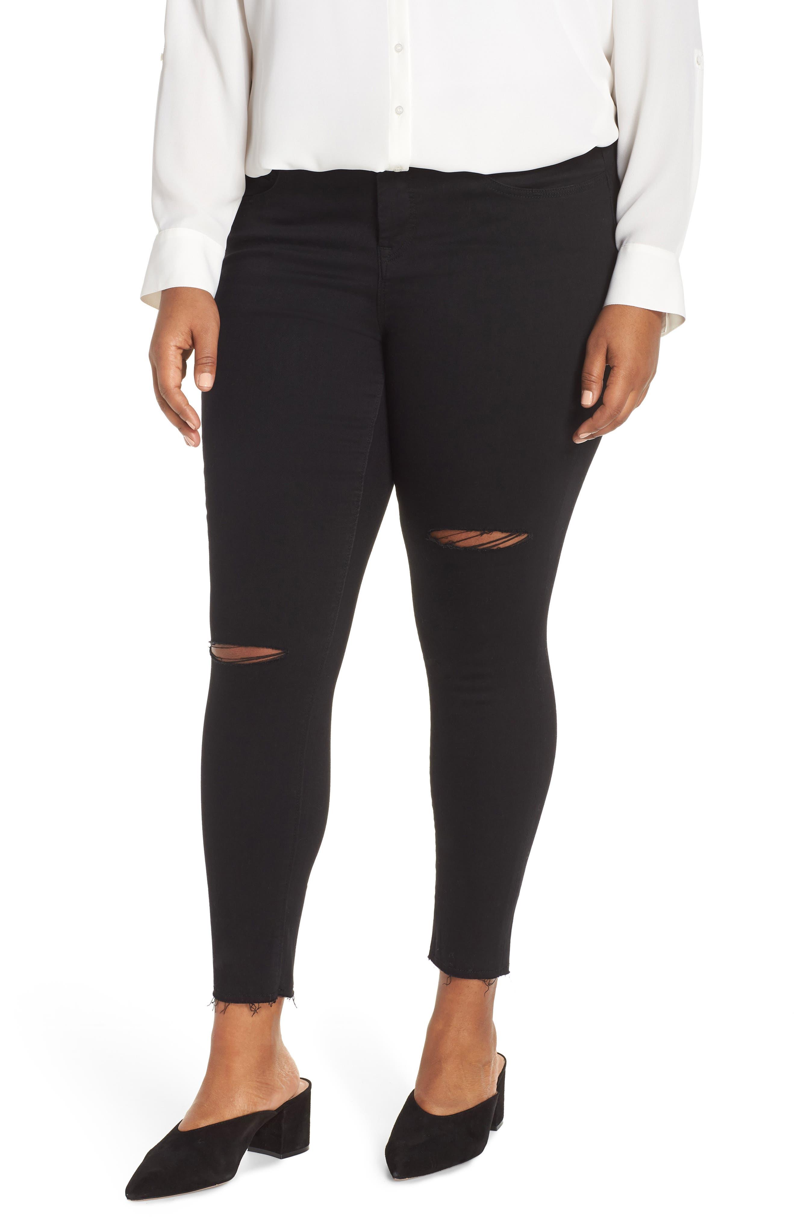 Fray Hem Ankle Skinny Jeans,                             Main thumbnail 1, color,                             BLACK RINSE WASH