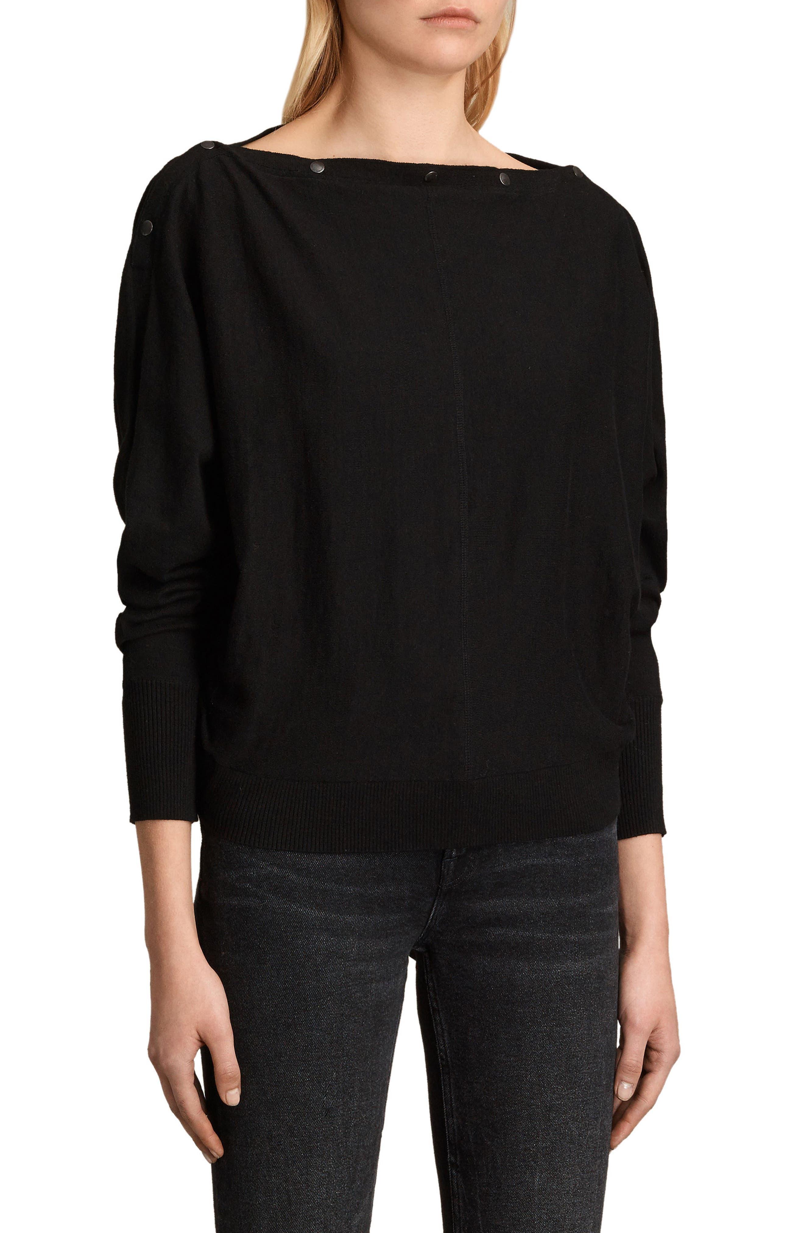 ALLSAINTS,                             Elle Sweater,                             Alternate thumbnail 3, color,                             BLACK