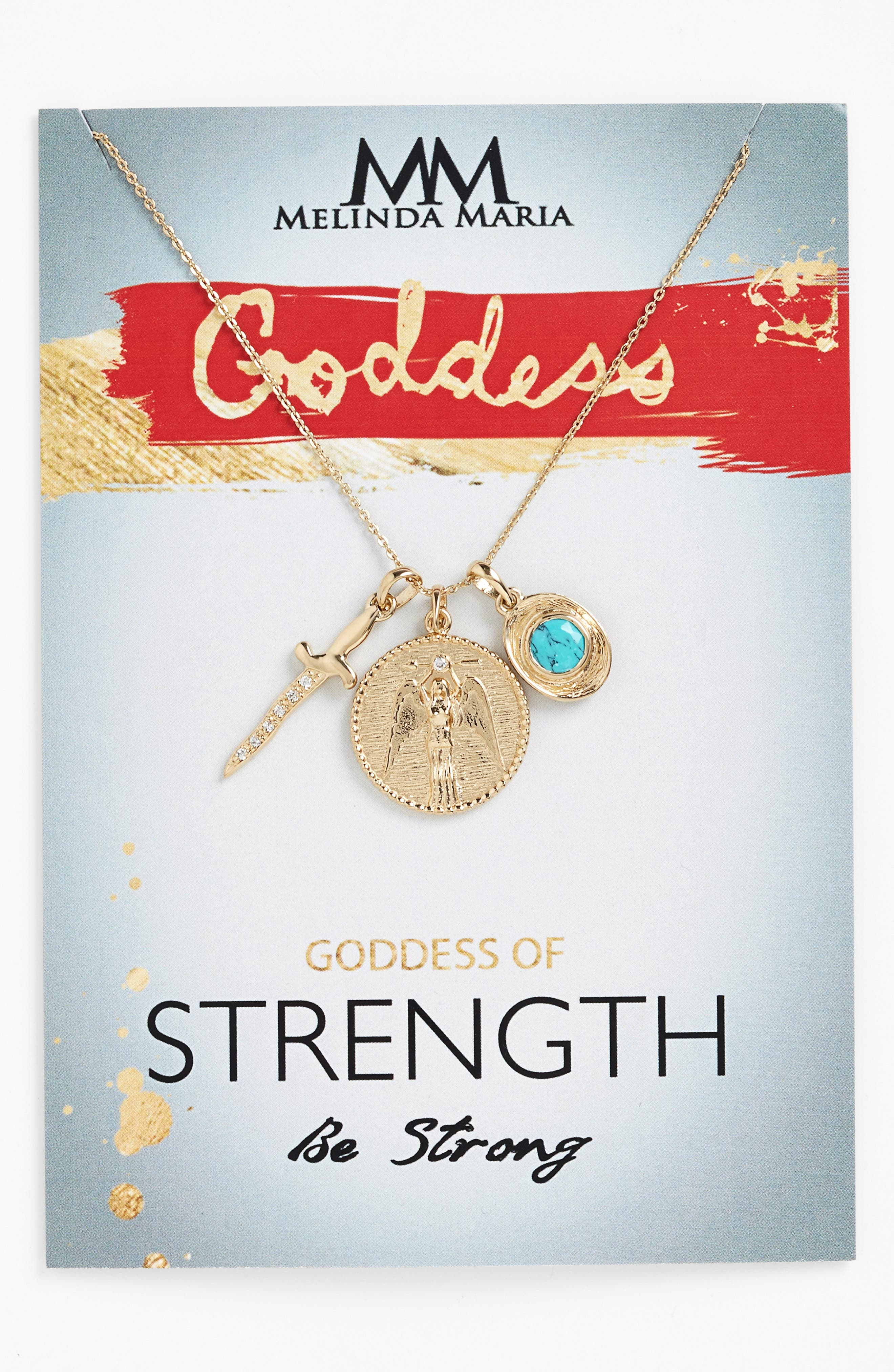 Goddess of Strength Cluster Pendant Necklace,                             Main thumbnail 2, color,