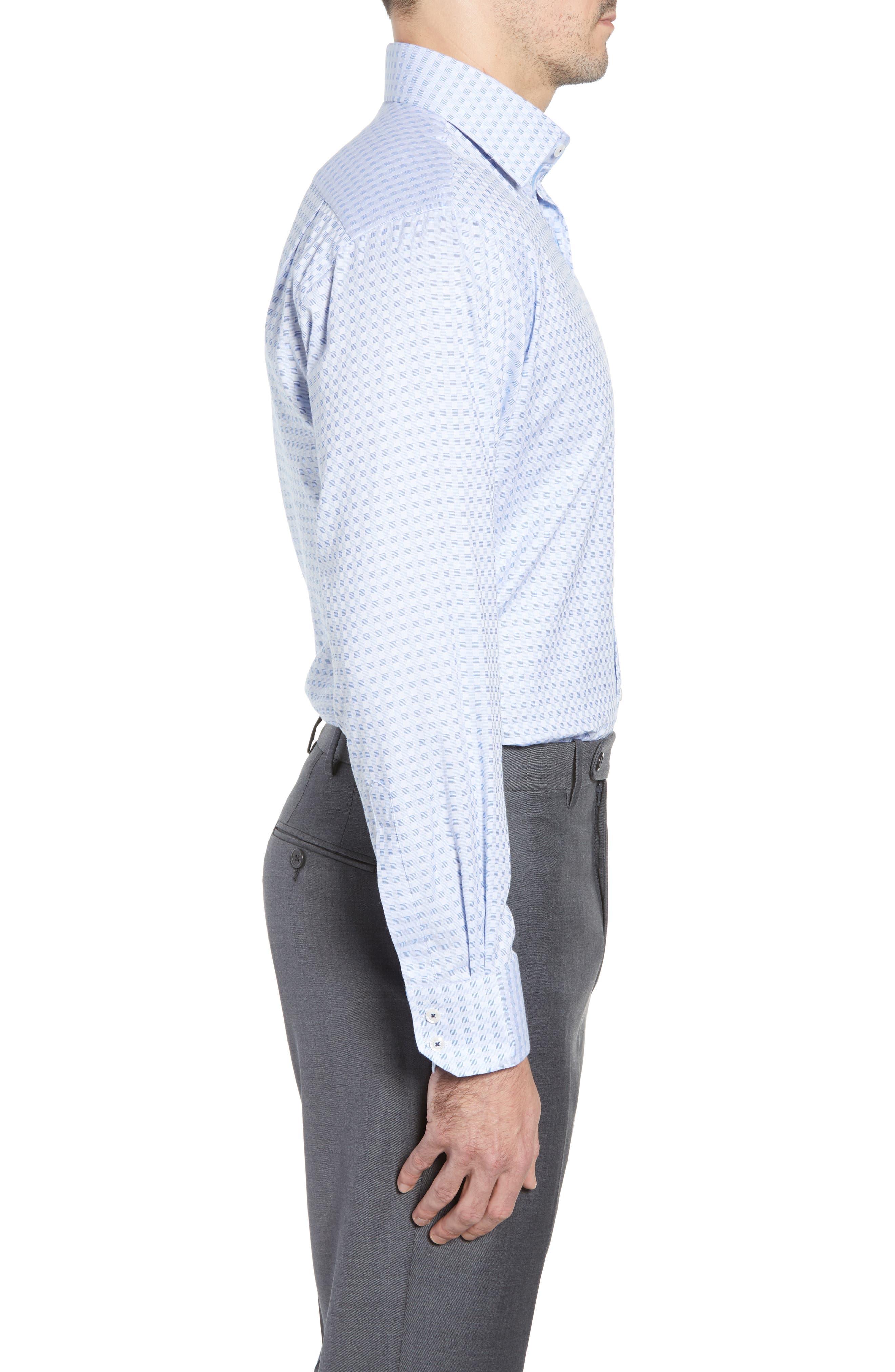 Check Regular Fit Dress Shirt,                             Alternate thumbnail 4, color,                             BLUE