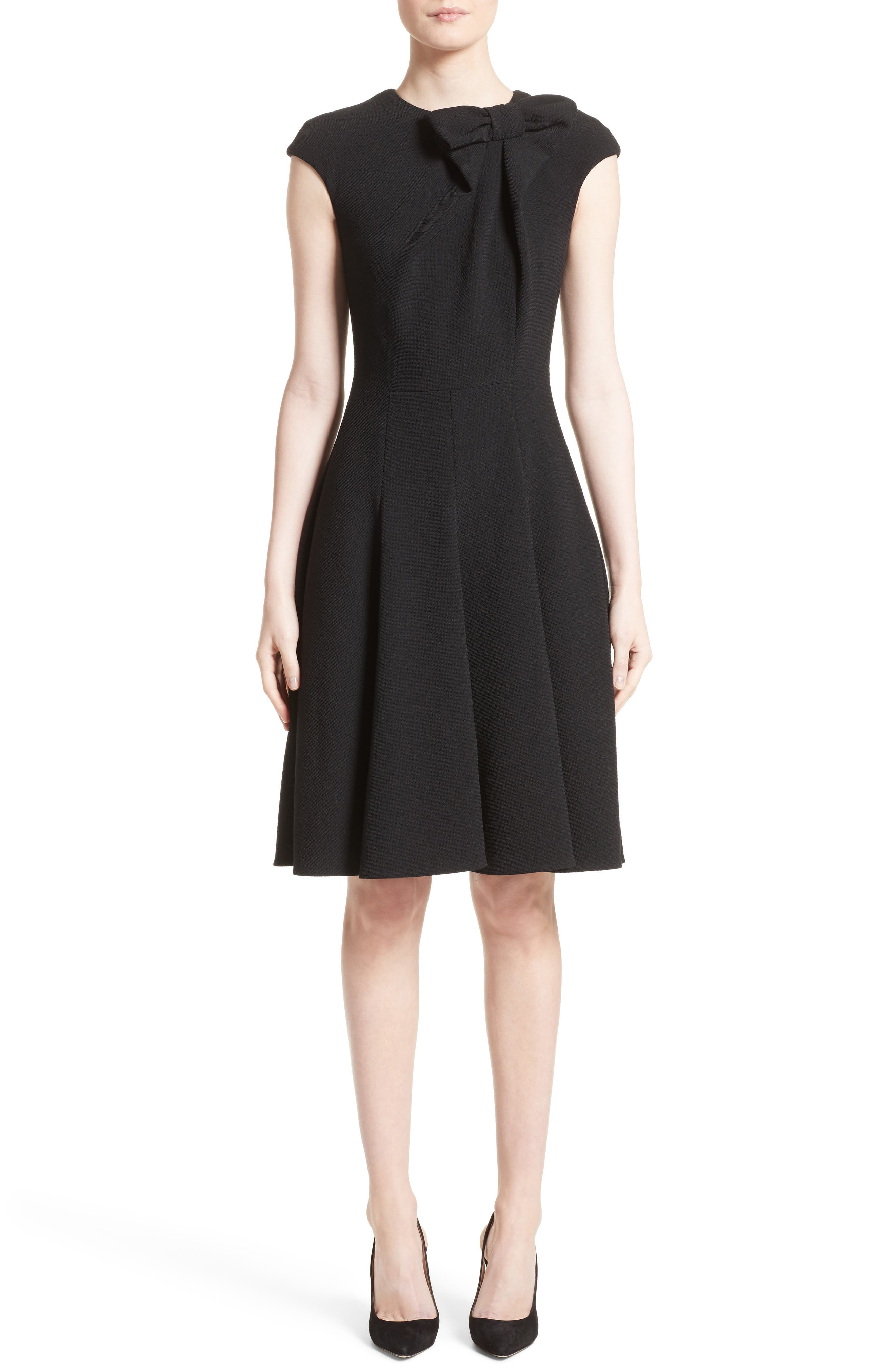 Bow Detail Fit & Flare Dress,                             Main thumbnail 1, color,                             001