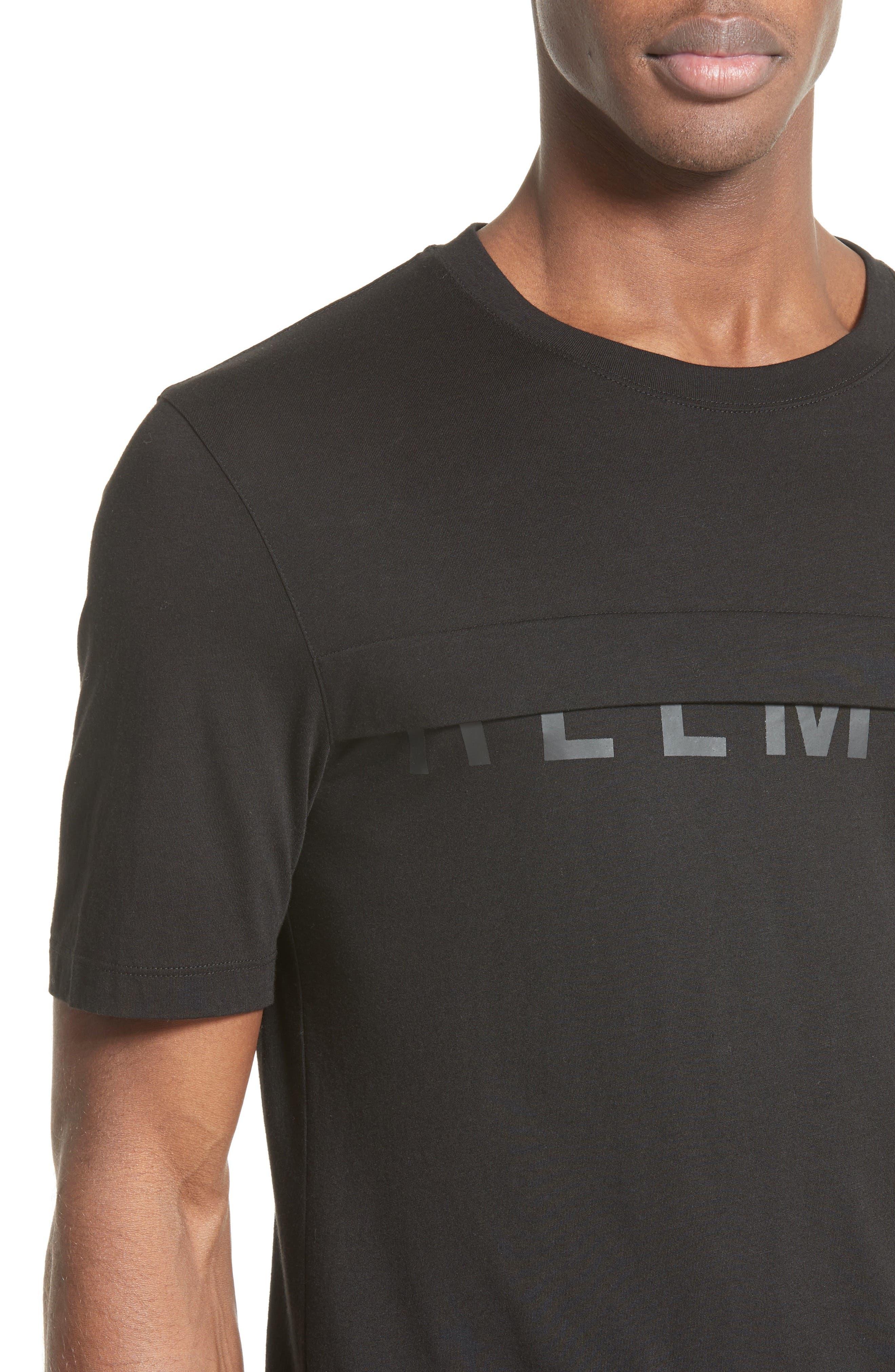 Half Logo Layered T-Shirt,                             Alternate thumbnail 4, color,                             001