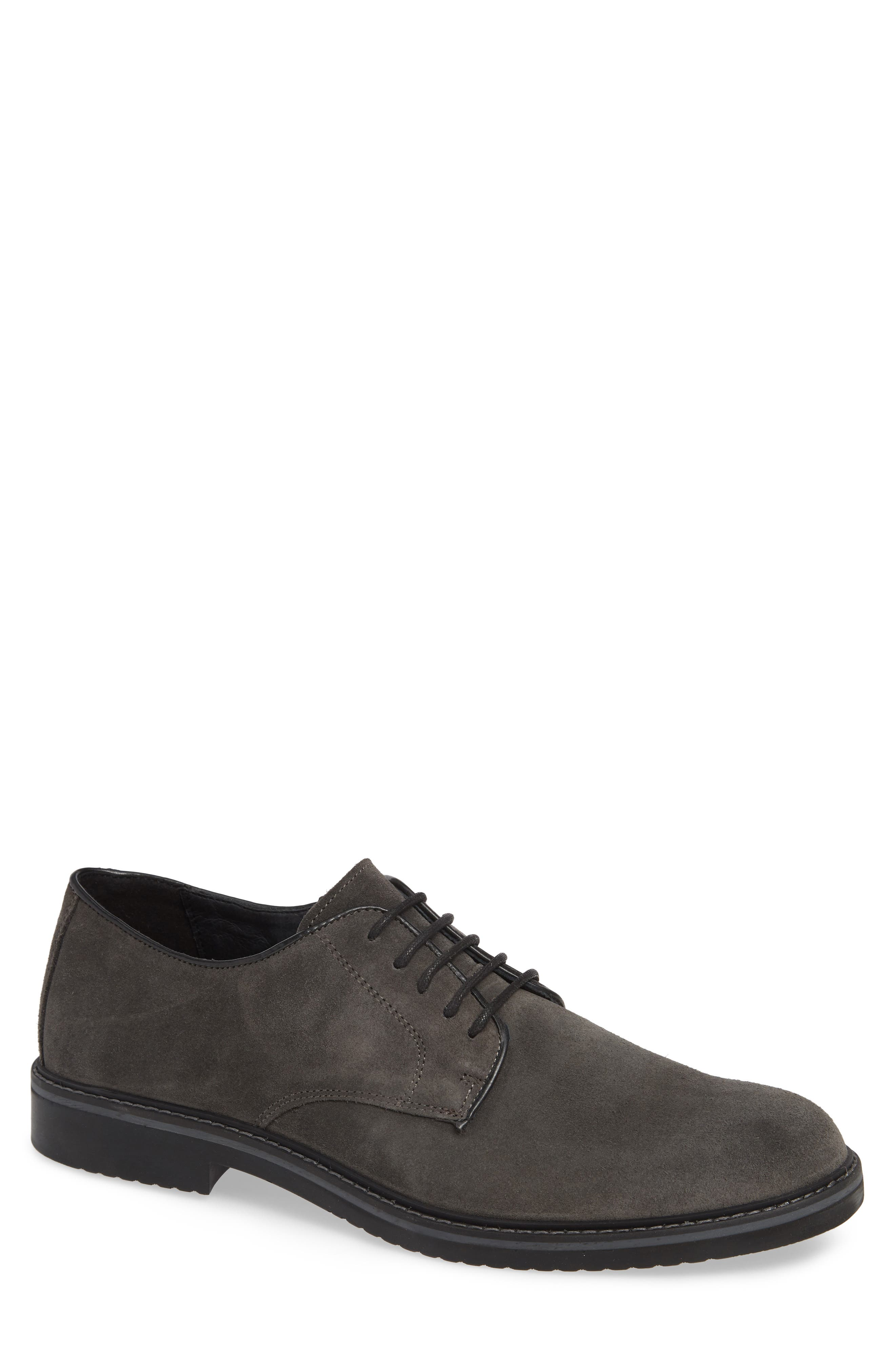 Cardiff Plain Toe Derby,                             Main thumbnail 1, color,                             CHARCOAL SUEDE