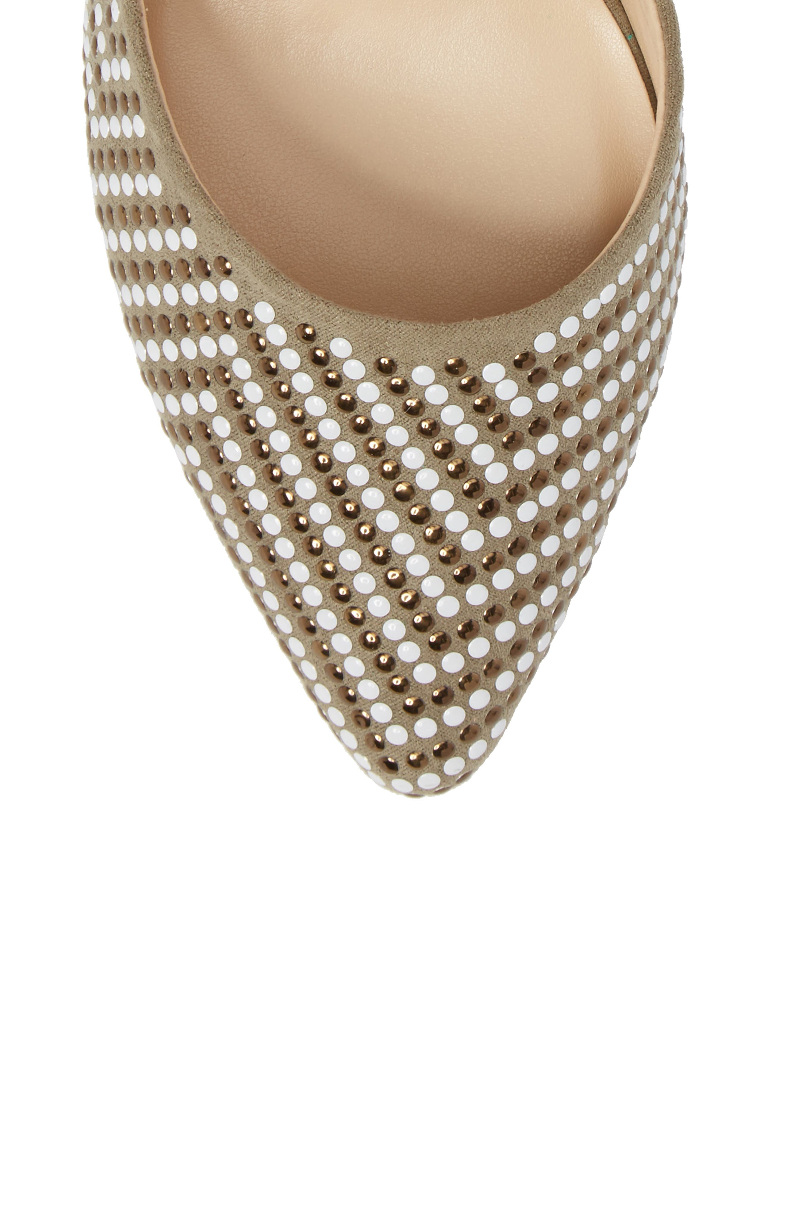 Mimosa Studded d'Orsay Pump,                             Alternate thumbnail 5, color,                             OLIVE SUEDE