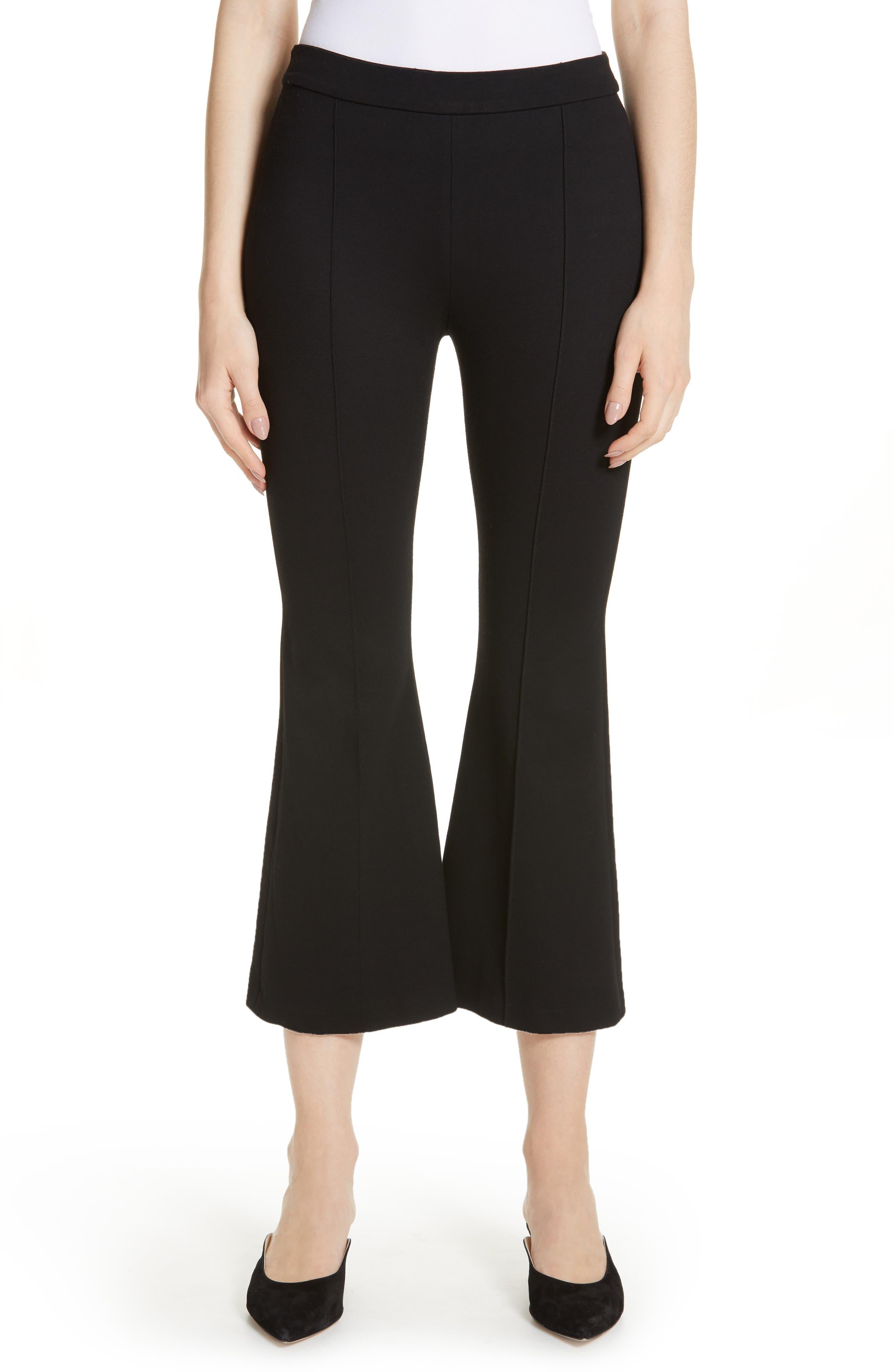 Crop Flare Jersey Pants, Main, color, BLACK