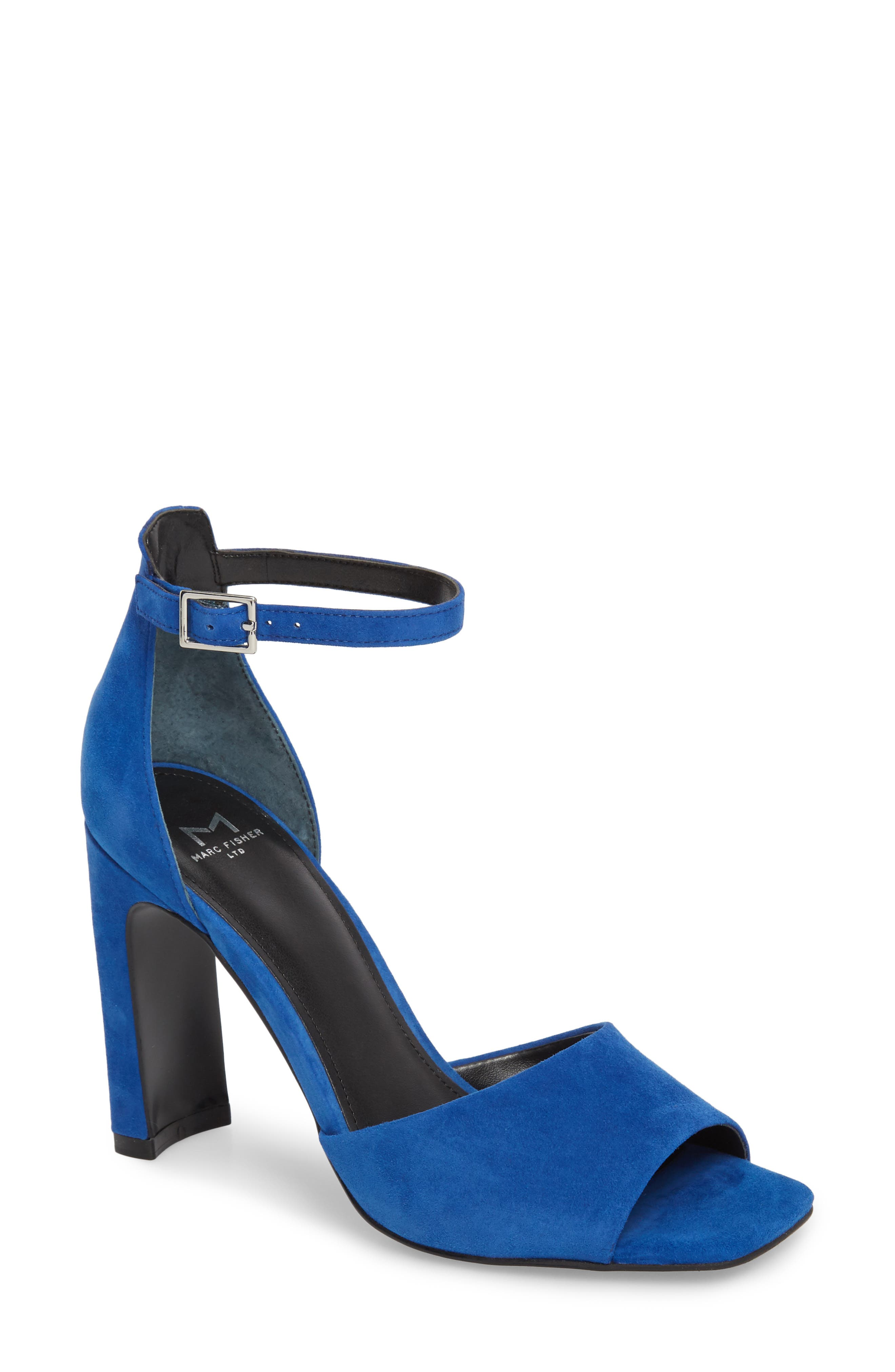Harlin Ankle Strap Sandal,                         Main,                         color, BLUE SUEDE