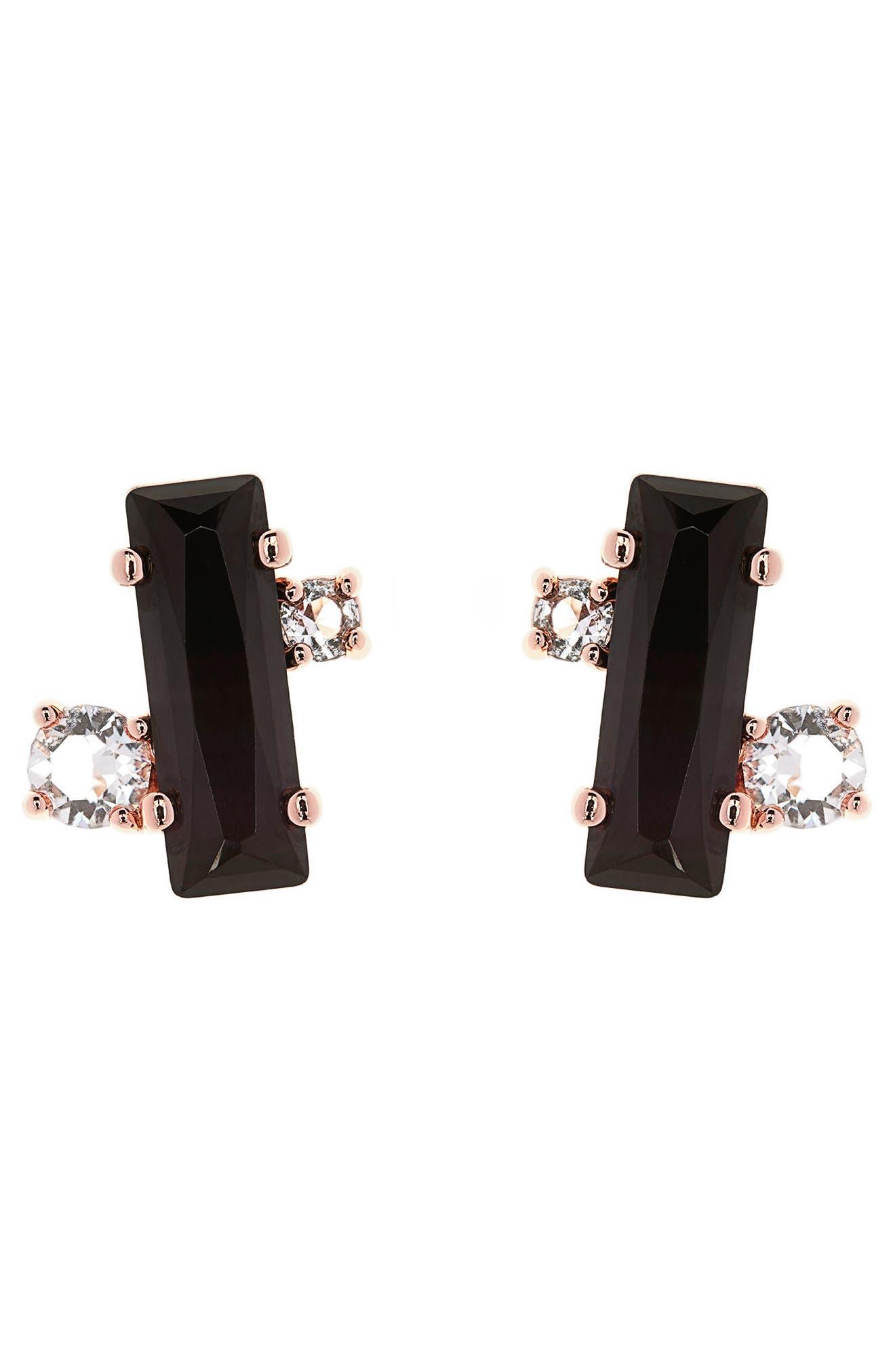 Bria Baguette Cluster Earrings,                             Main thumbnail 1, color,                             002