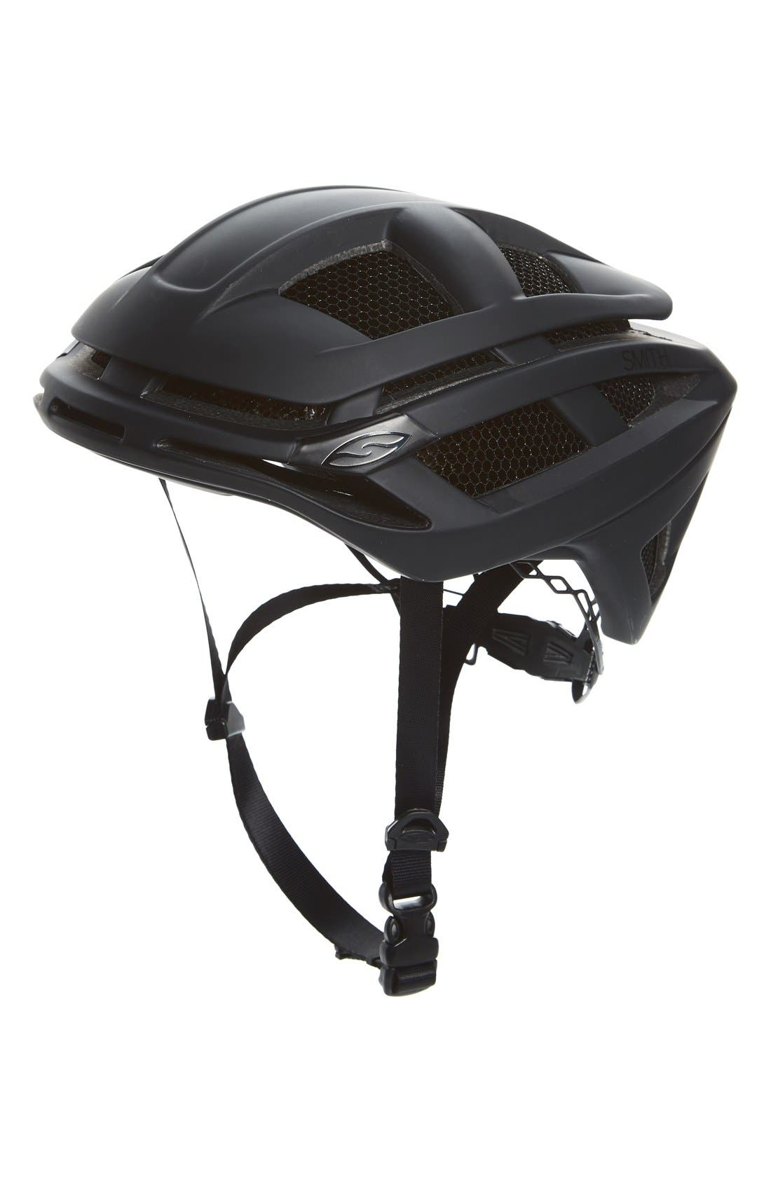 'Overtake with Aerocore<sup>™</sup> Featuring Koroyd<sup>®</sup>' Biking Racer Helmet,                             Main thumbnail 1, color,                             MATTE BLACK