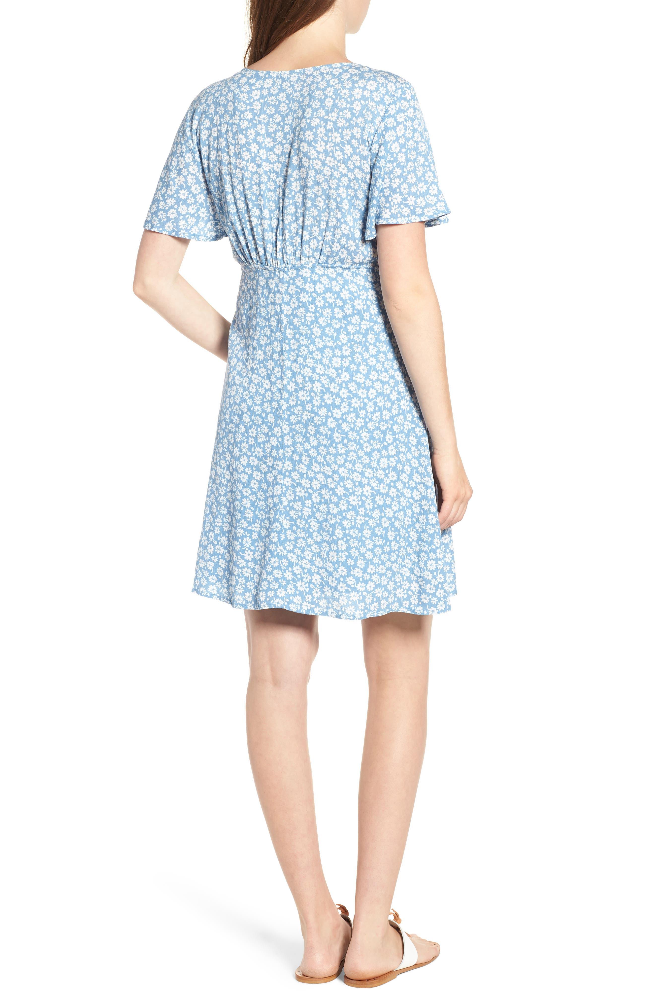 Floral Button Front Dress,                             Alternate thumbnail 2, color,