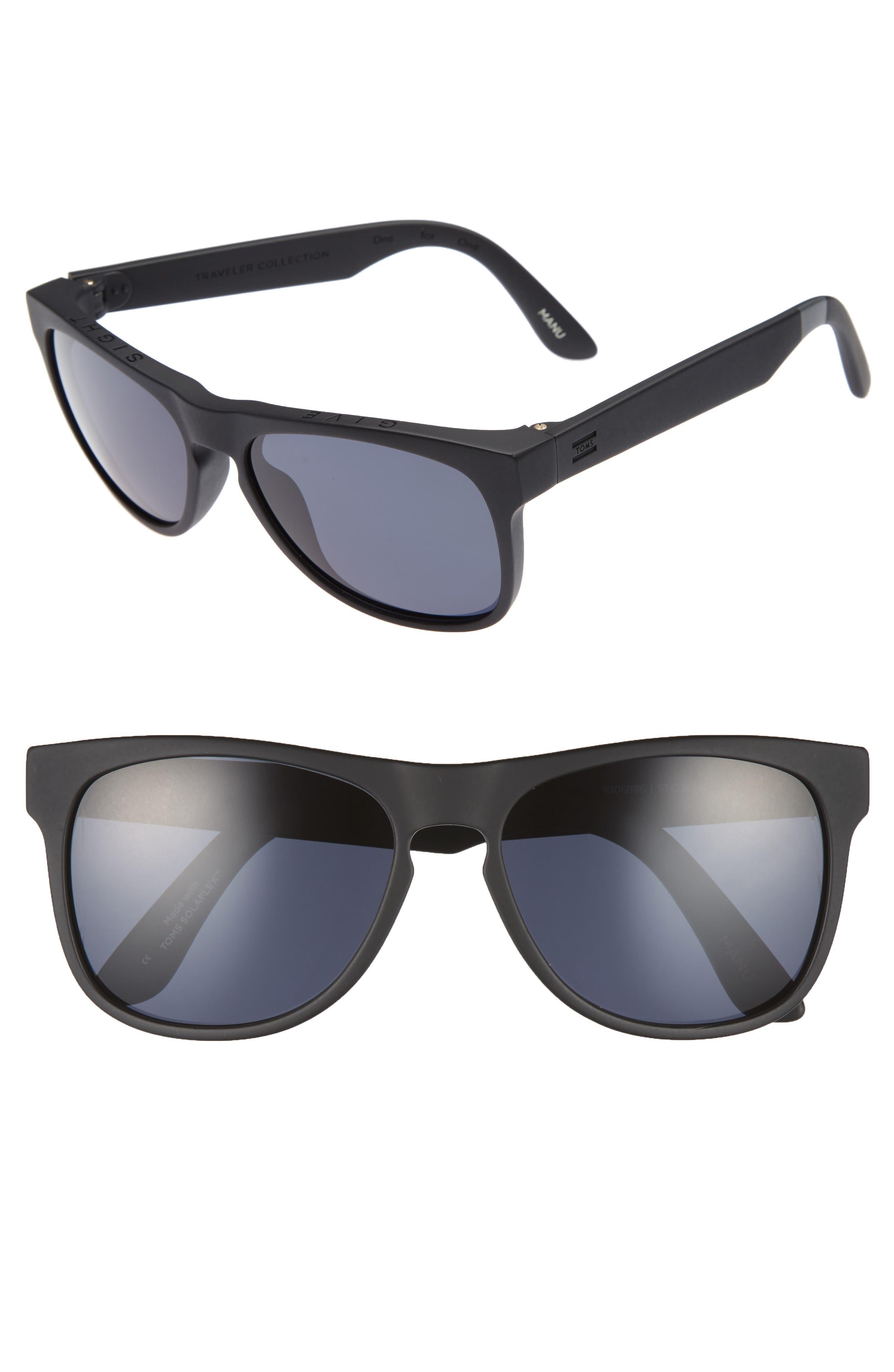 TOMS Manu 57mm Polarized Sunglasses, Main, color, 001