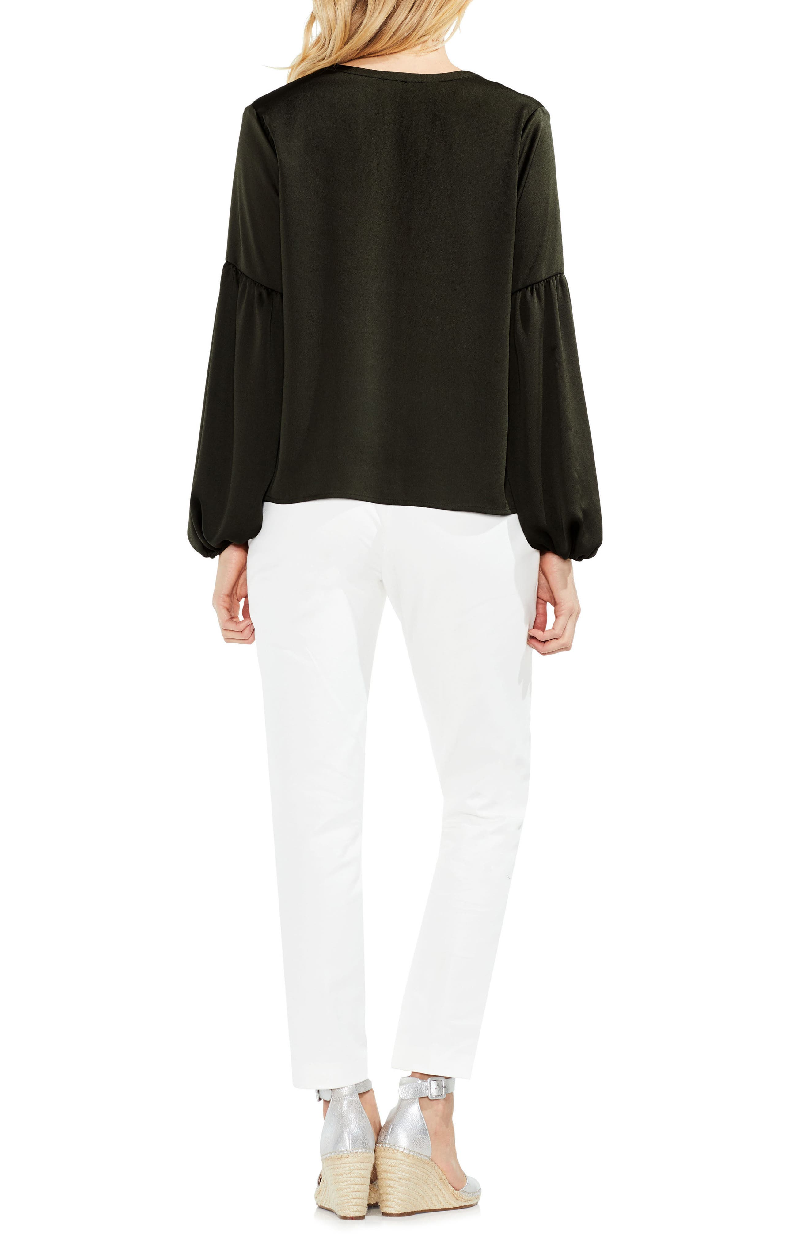 Lace-Up Hammered Satin Blouse,                             Alternate thumbnail 14, color,