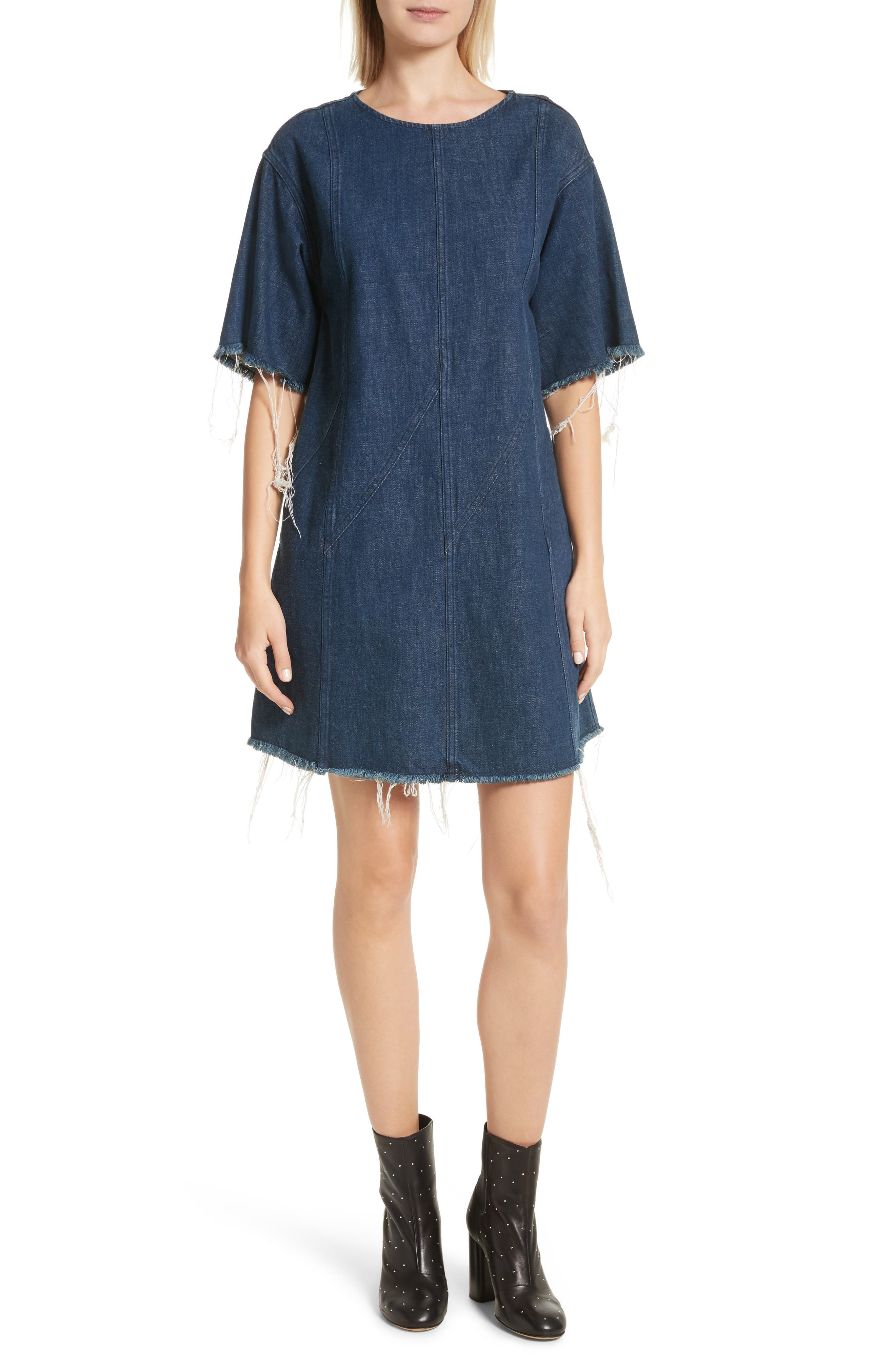 Kelly Denim Minidress,                         Main,                         color, 470