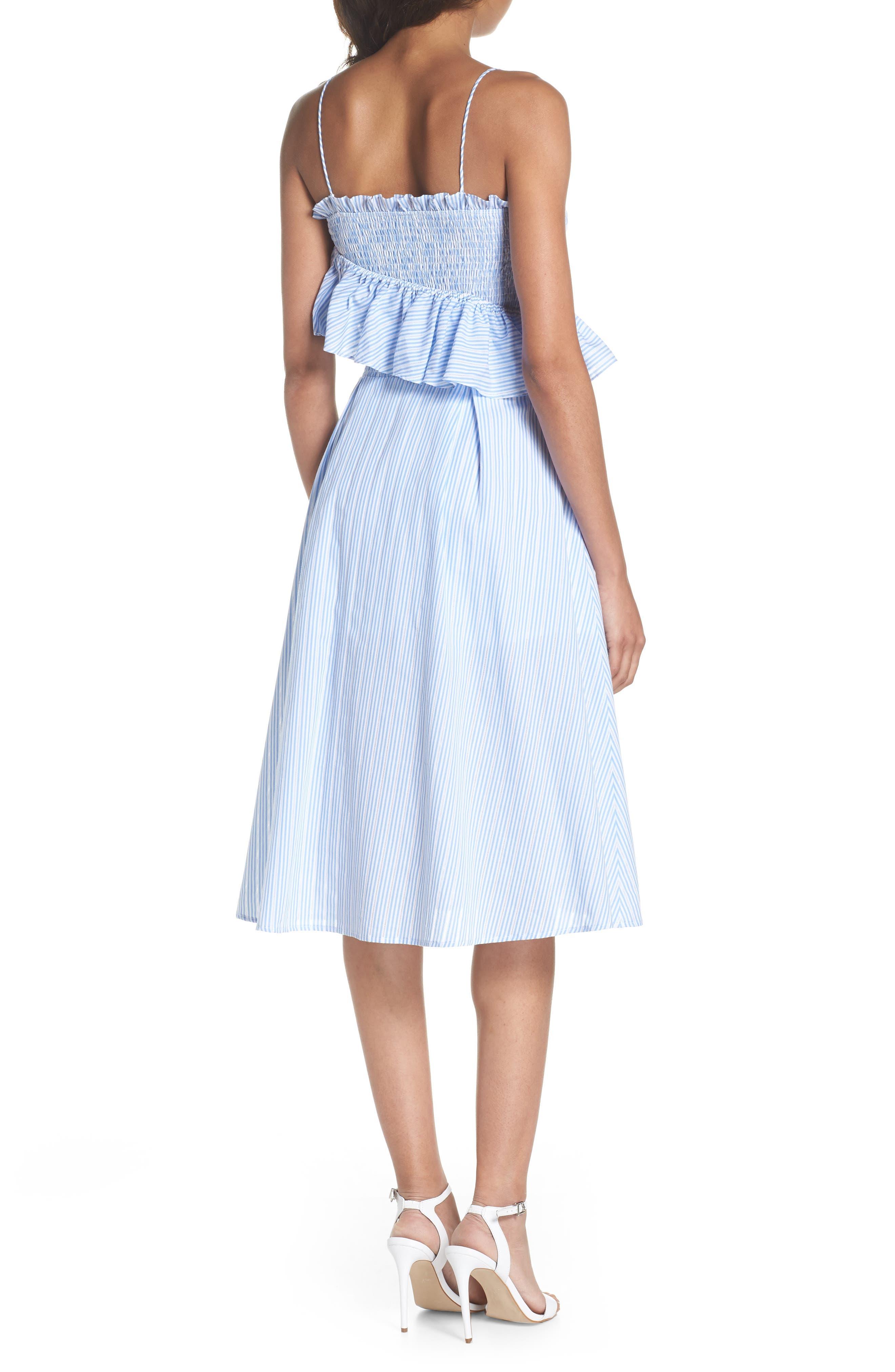 Stripe Poplin Fit & Flare Dress,                             Alternate thumbnail 2, color,                             400