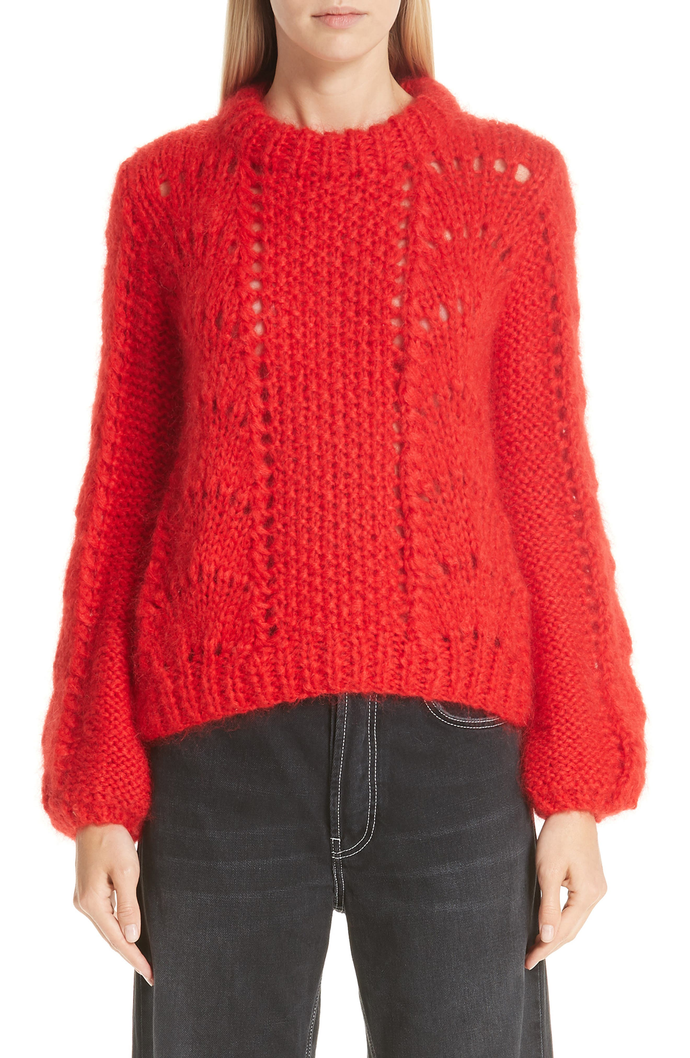 GANNI,                             Mohair & Wool Sweater,                             Main thumbnail 1, color,                             FIERY RED 403