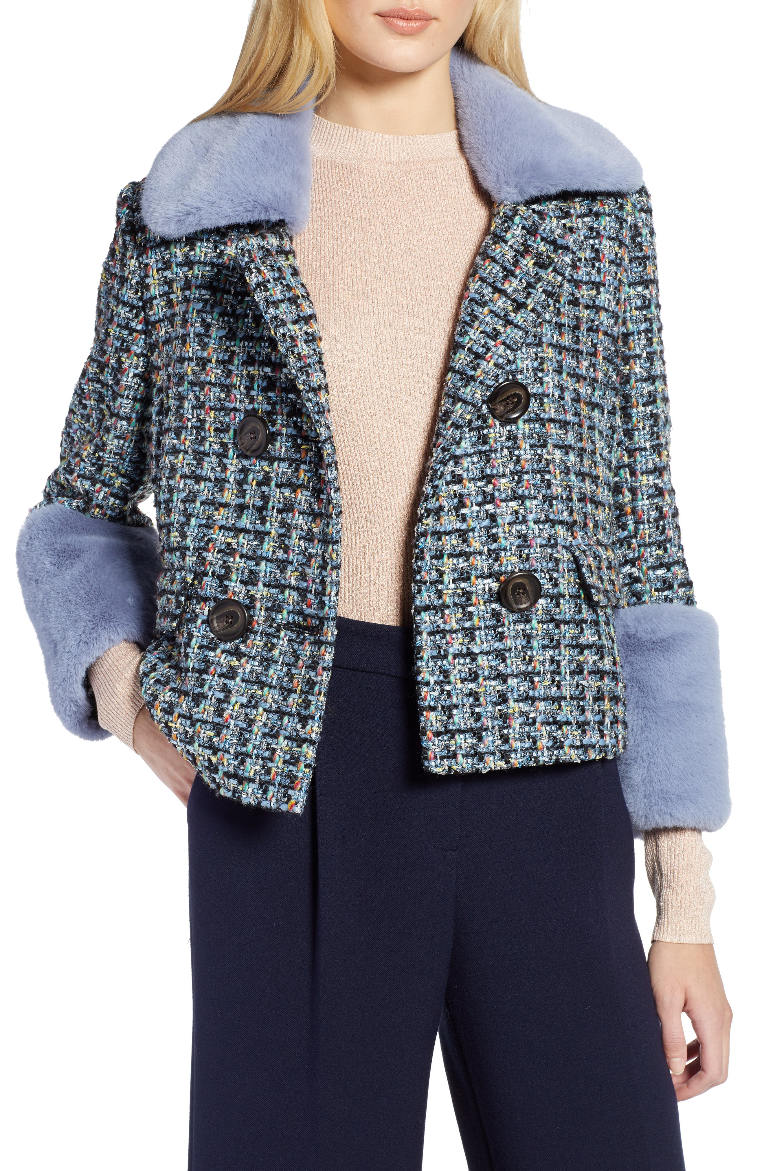 x Atlantic-Pacific Tweed Jacket with Removable Faux Fur Trim,                         Main,                         color, BLACK MULTI TWEED
