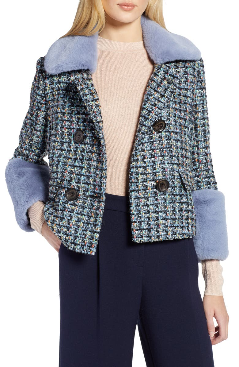 Halogen® x Atlantic-Pacific Tweed Jacket with Removable Faux Fur Trim | Nordstrom