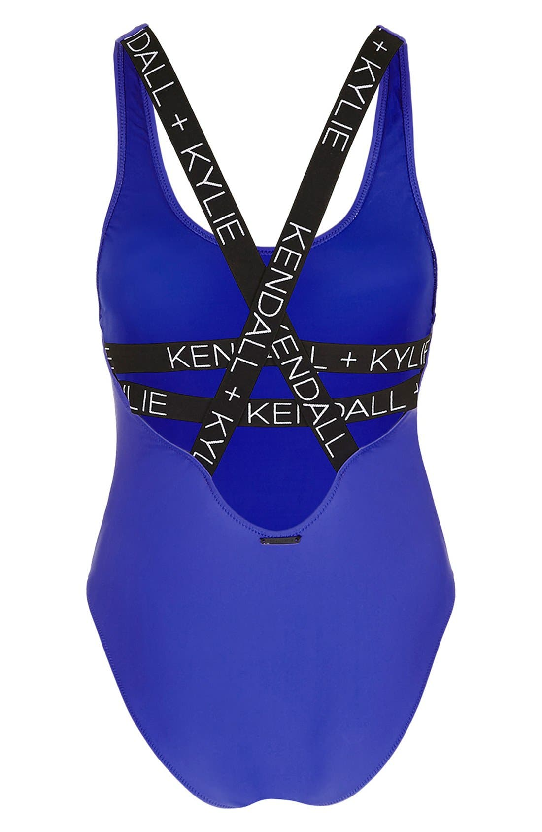 KENDALL + KYLIE at Topshop Elastic Strap One-Piece Swimsuit,                             Alternate thumbnail 6, color,                             430