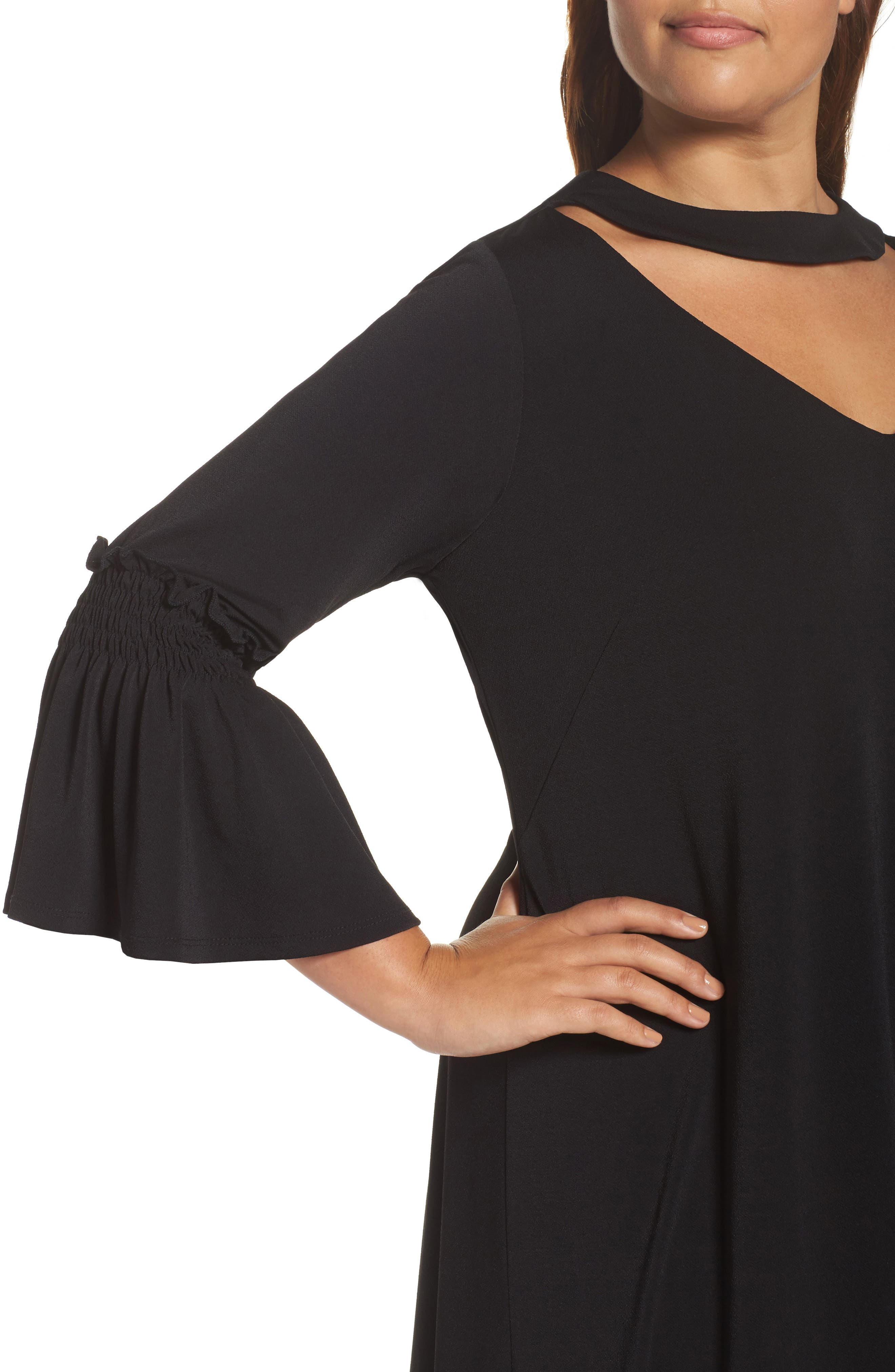 Bell Sleeve A-Line Choker Dress,                             Alternate thumbnail 4, color,                             001
