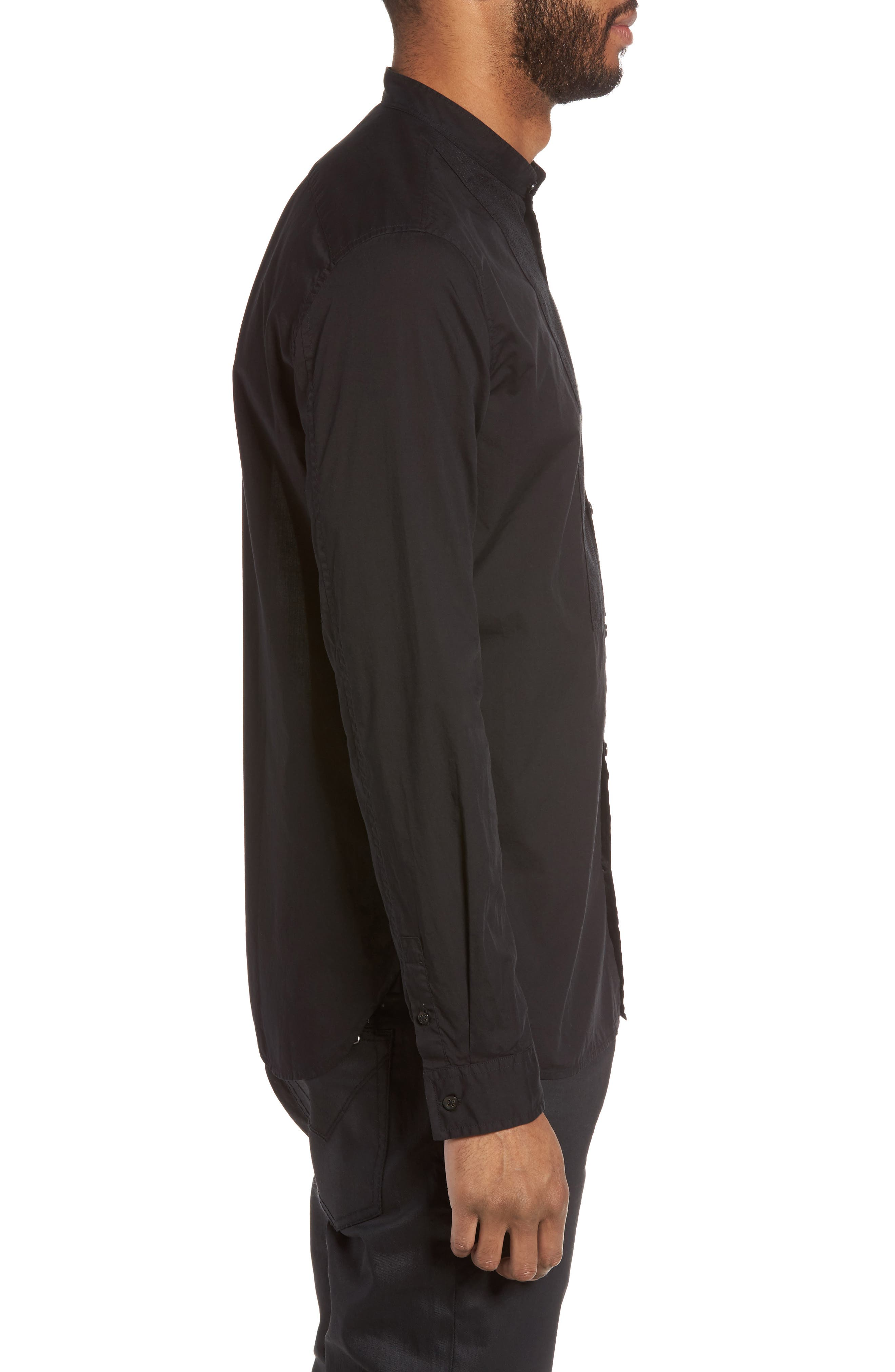 Trim Fit Bib Front Sport Shirt,                             Alternate thumbnail 3, color,                             001