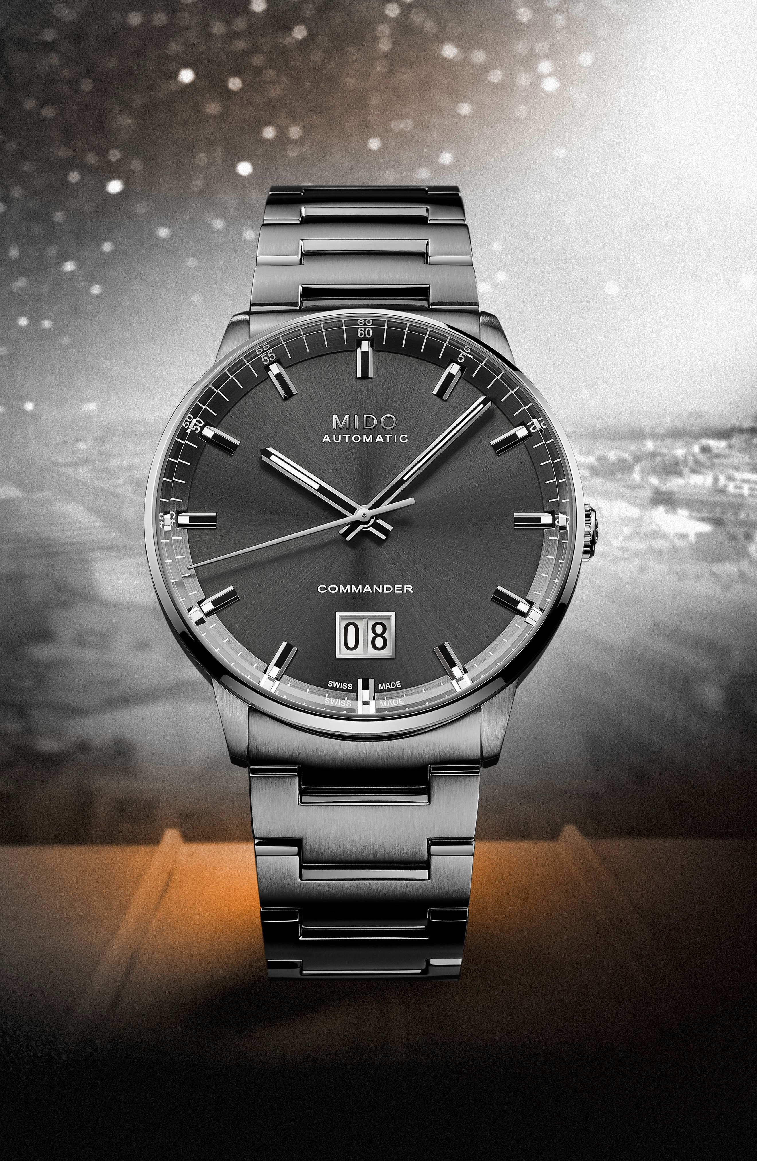 Commander II Skeleton Bracelet Watch, 42mm,                             Alternate thumbnail 4, color,                             SILVER/ BLACK/ SILVER