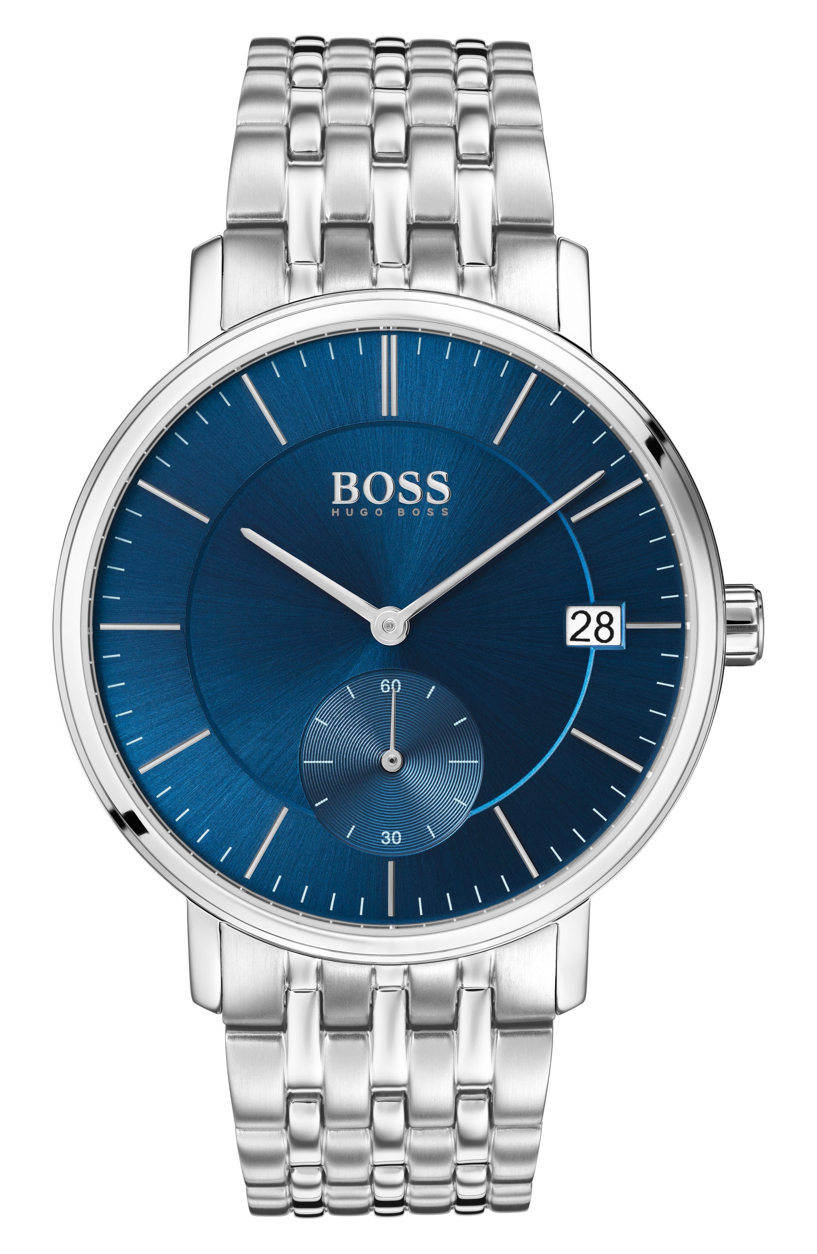 Round Bracelet Watch, 40mm,                             Main thumbnail 1, color,                             BLUE/ SILVER