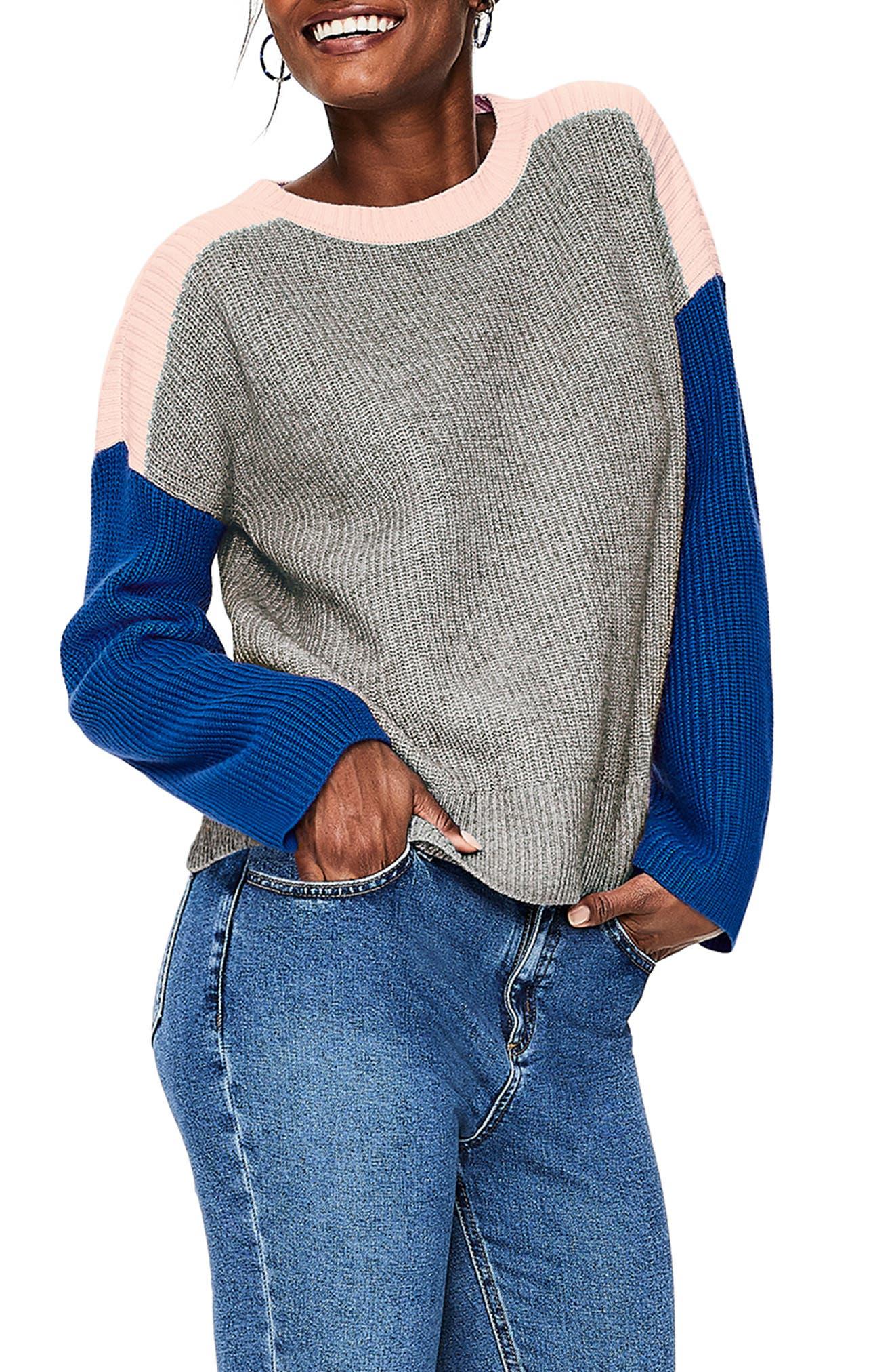 Sophie Colorblock Sweater, Main, color, GREY MELANGE