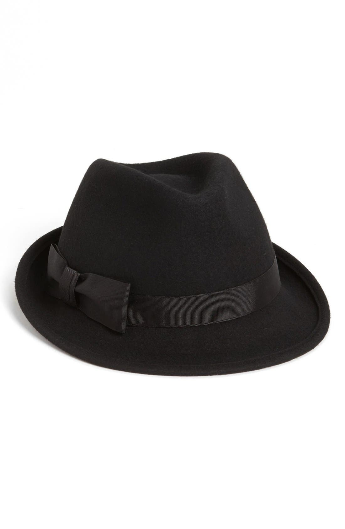 Wool Felt Trilby Hat,                             Alternate thumbnail 3, color,                             001