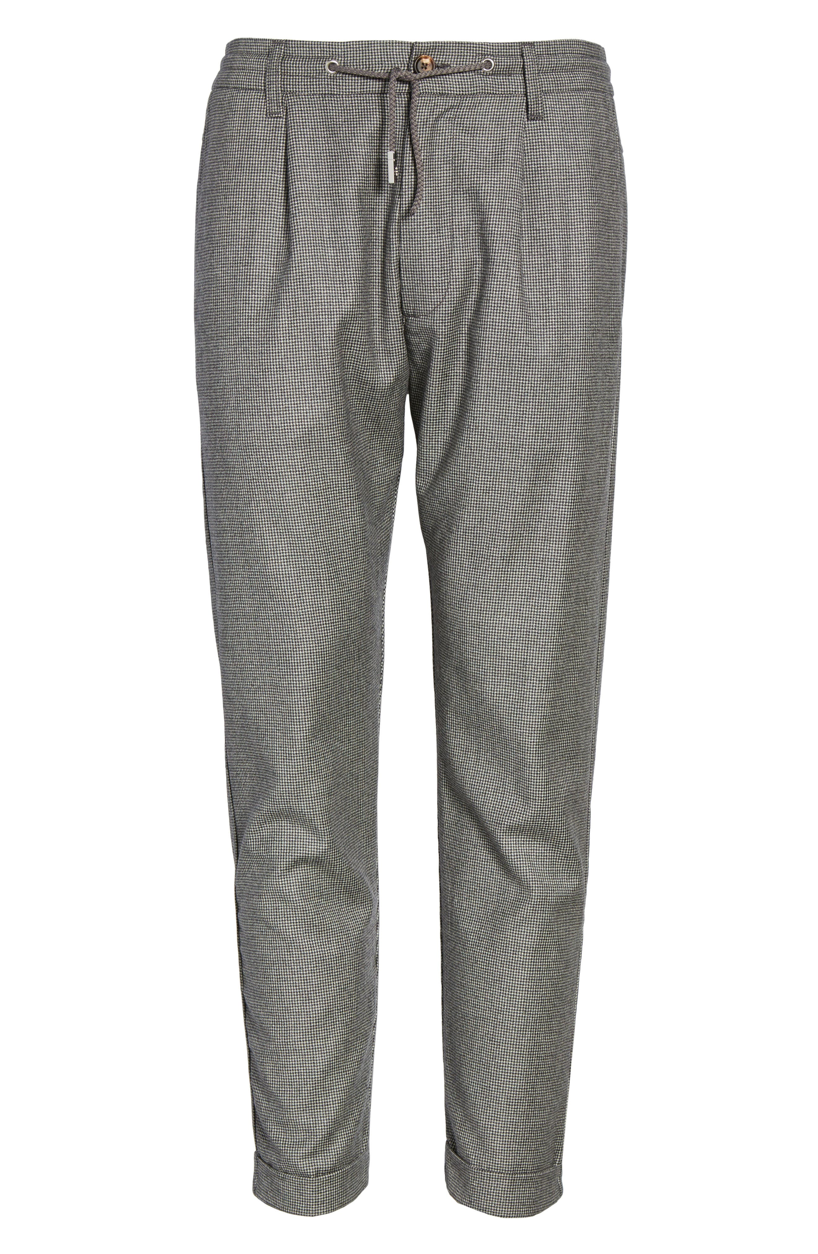 Houndstooth Wool Drawstring Jogger Pants,                             Alternate thumbnail 6, color,                             020