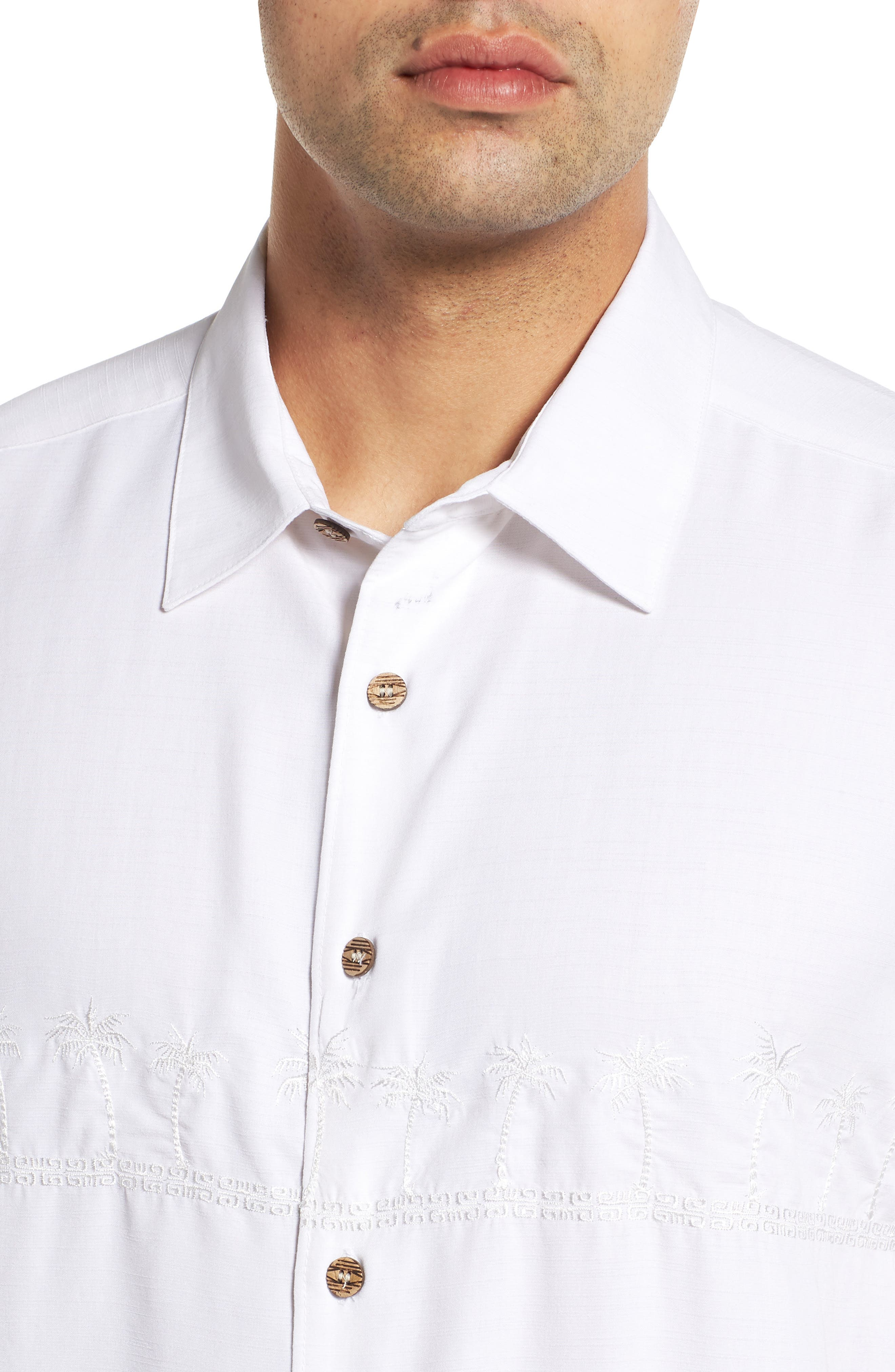 QUIKSILVER WATERMAN COLLECTION,                             Tahiti Palms Regular Fit Sport Shirt,                             Alternate thumbnail 2, color,                             WHITE