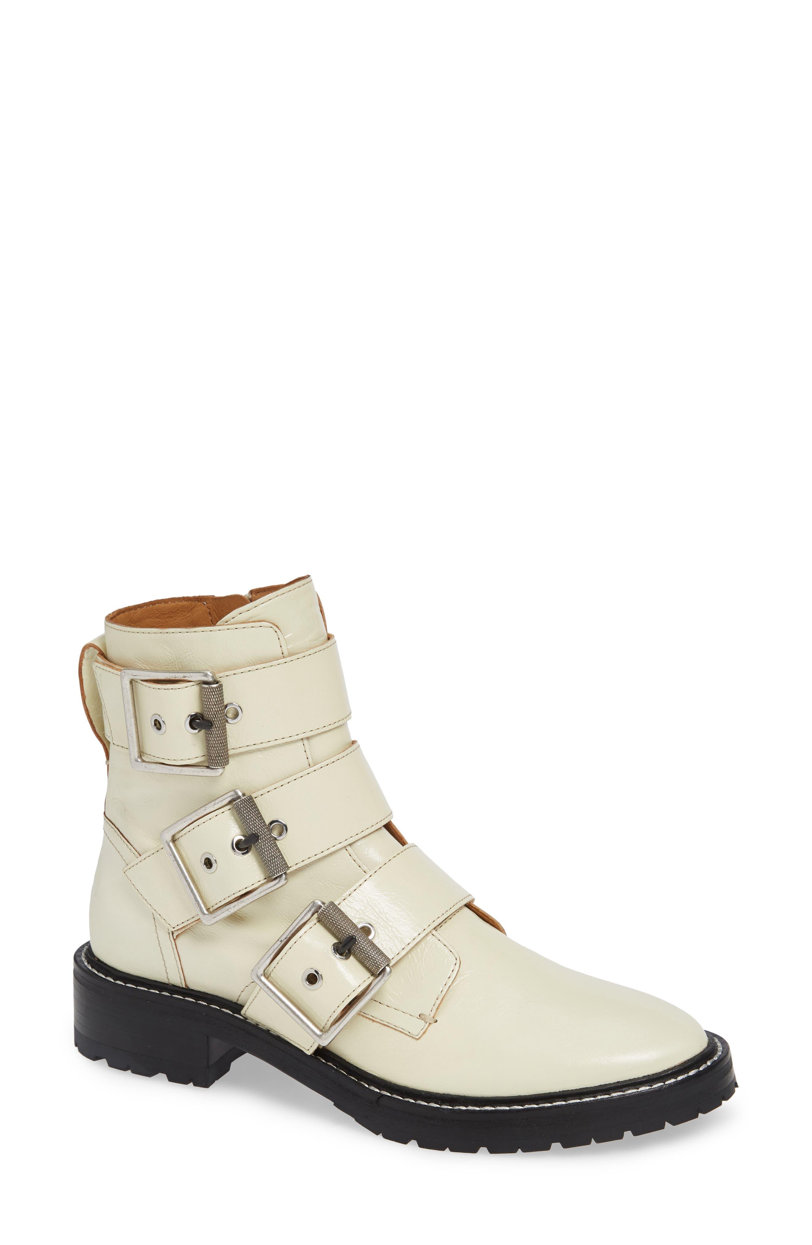 Rag & Bone Cannon Buckle Moto Boot, White