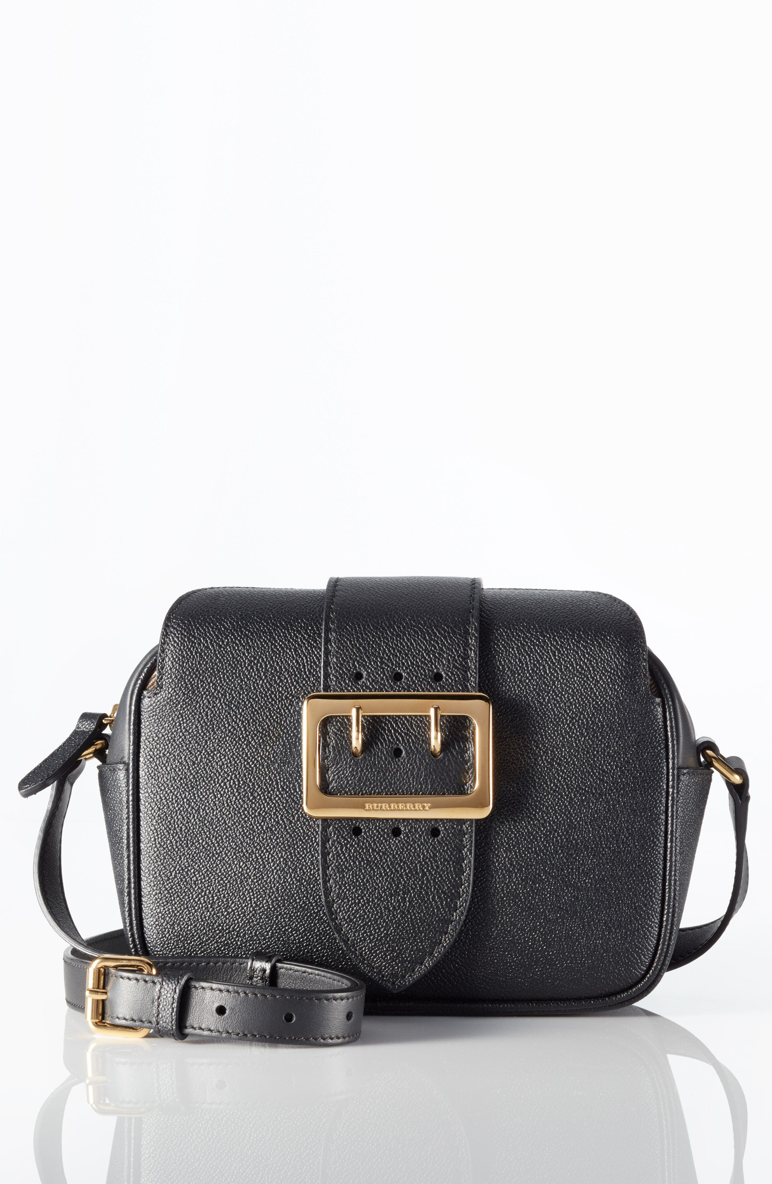 Small Buckle Leather Crossbody Bag,                             Alternate thumbnail 6, color,                             001