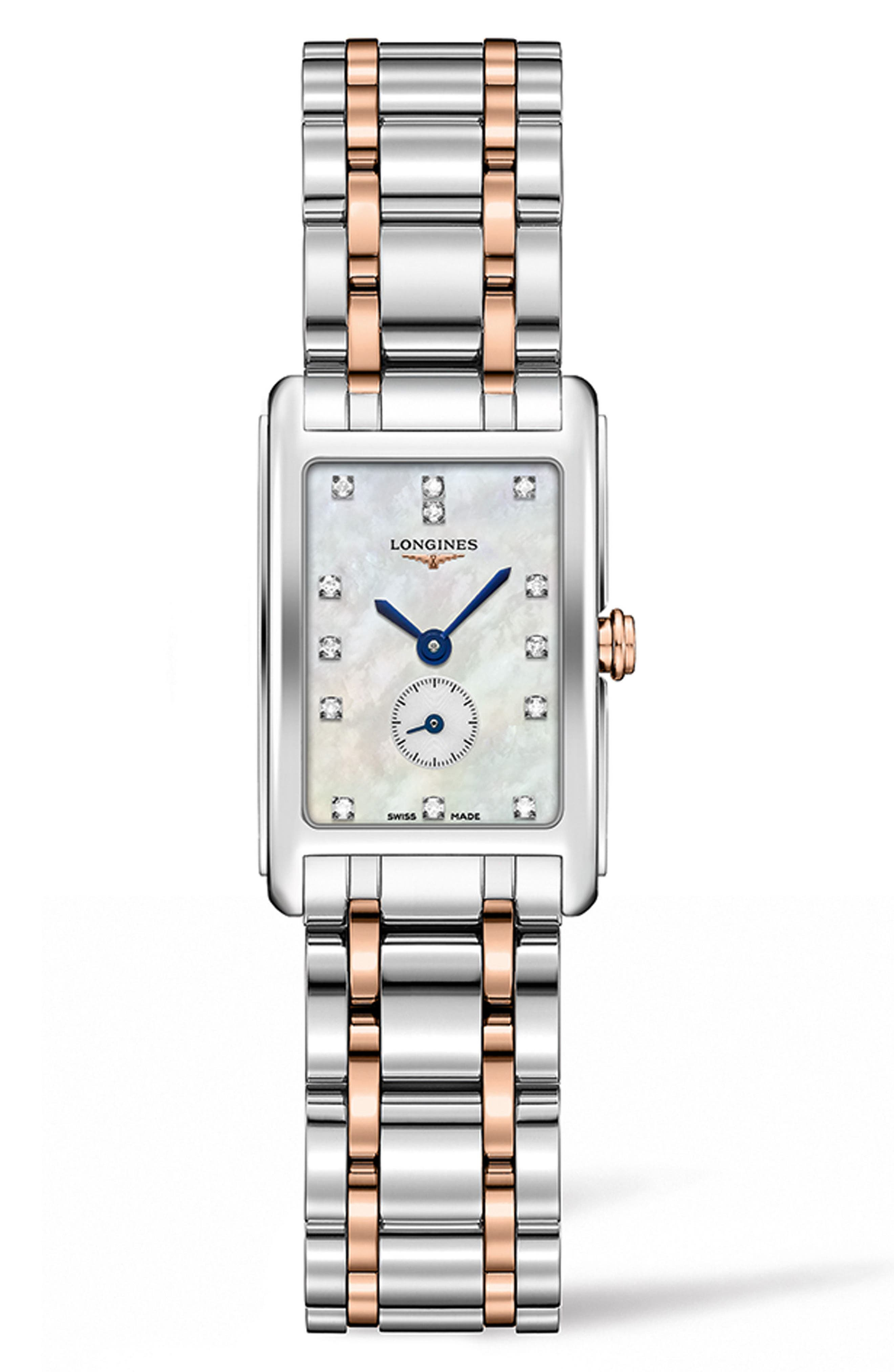 DolceVita Diamond Bracelet Watch, 20.5mm x 32mm,                             Main thumbnail 1, color,                             SILVER/ MOP/ ROSE GOLD
