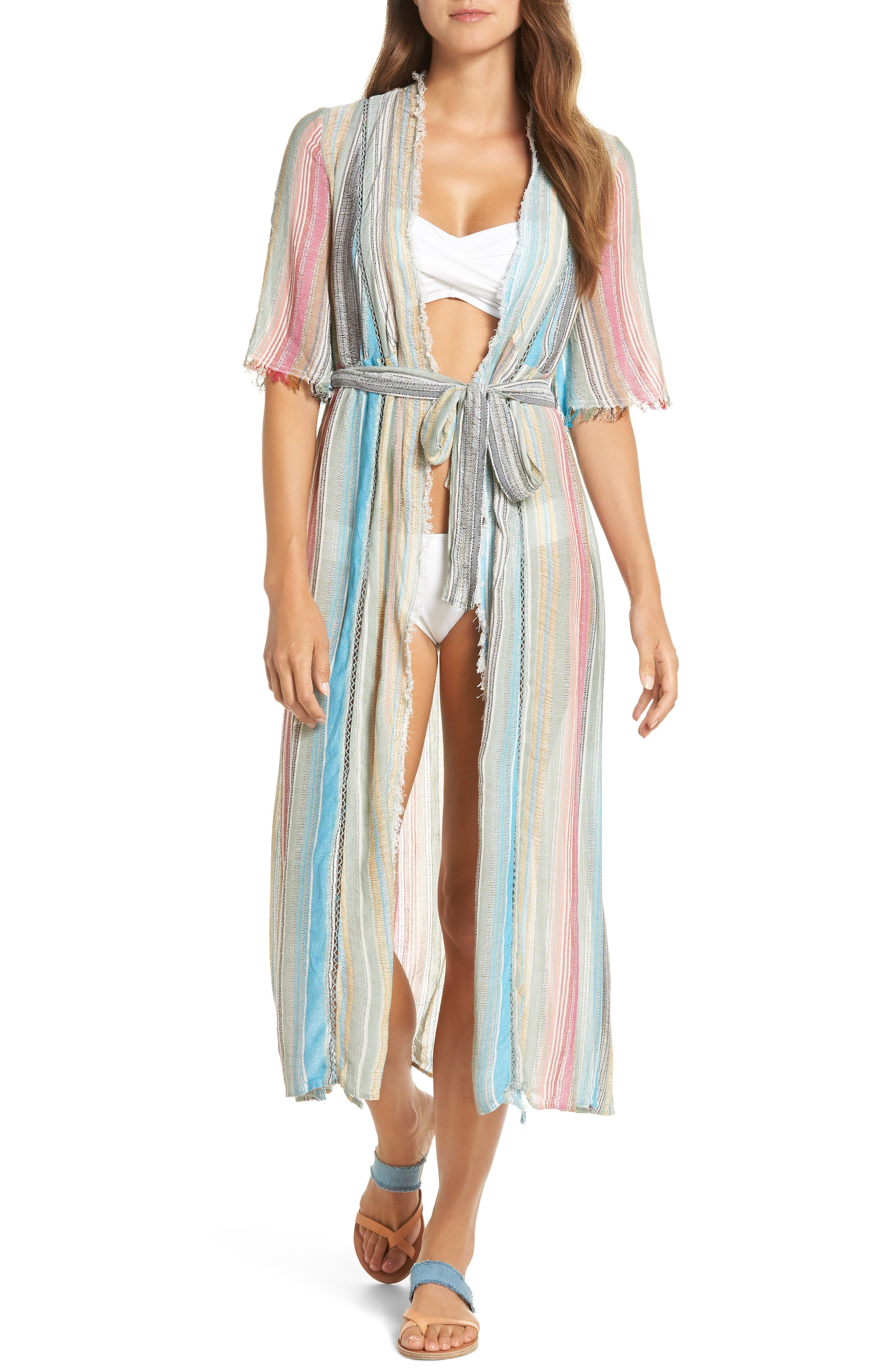 Elan Tie Front Cover-Up Dress, Blue/green