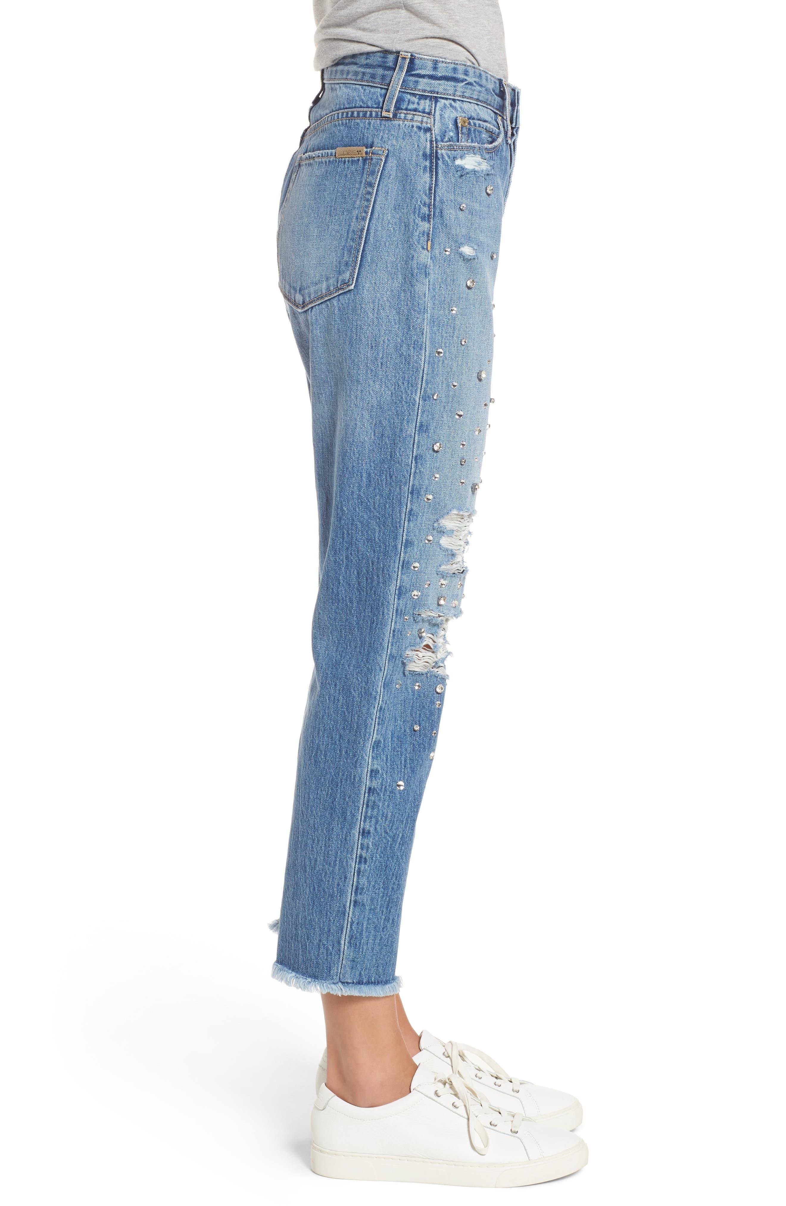 Jeans Smith Rhinestone Crop Boyfriend Jeans,                             Alternate thumbnail 3, color,                             450