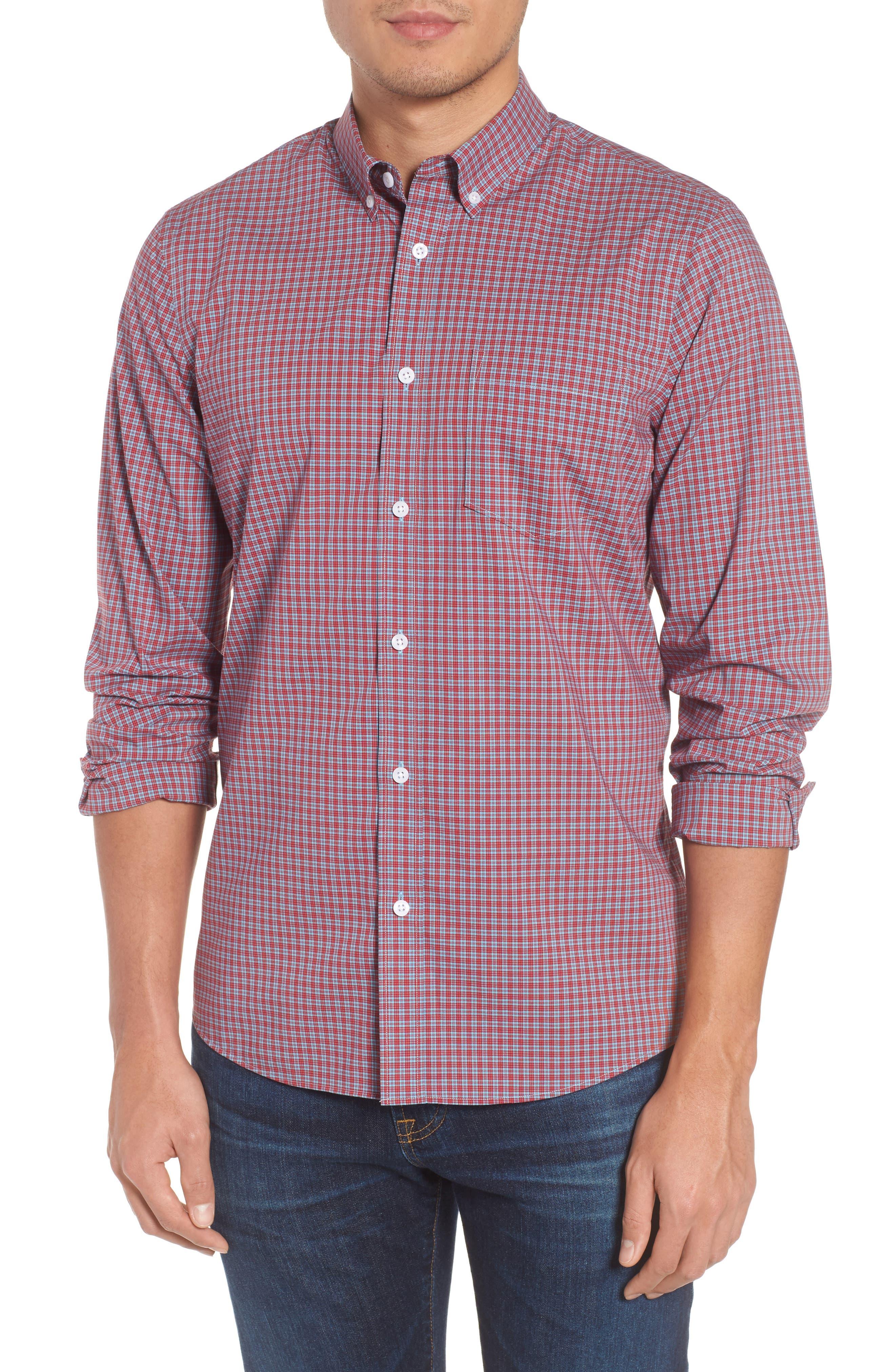 Tech-Smart Trim Fit Check Sport Shirt,                         Main,                         color, 610