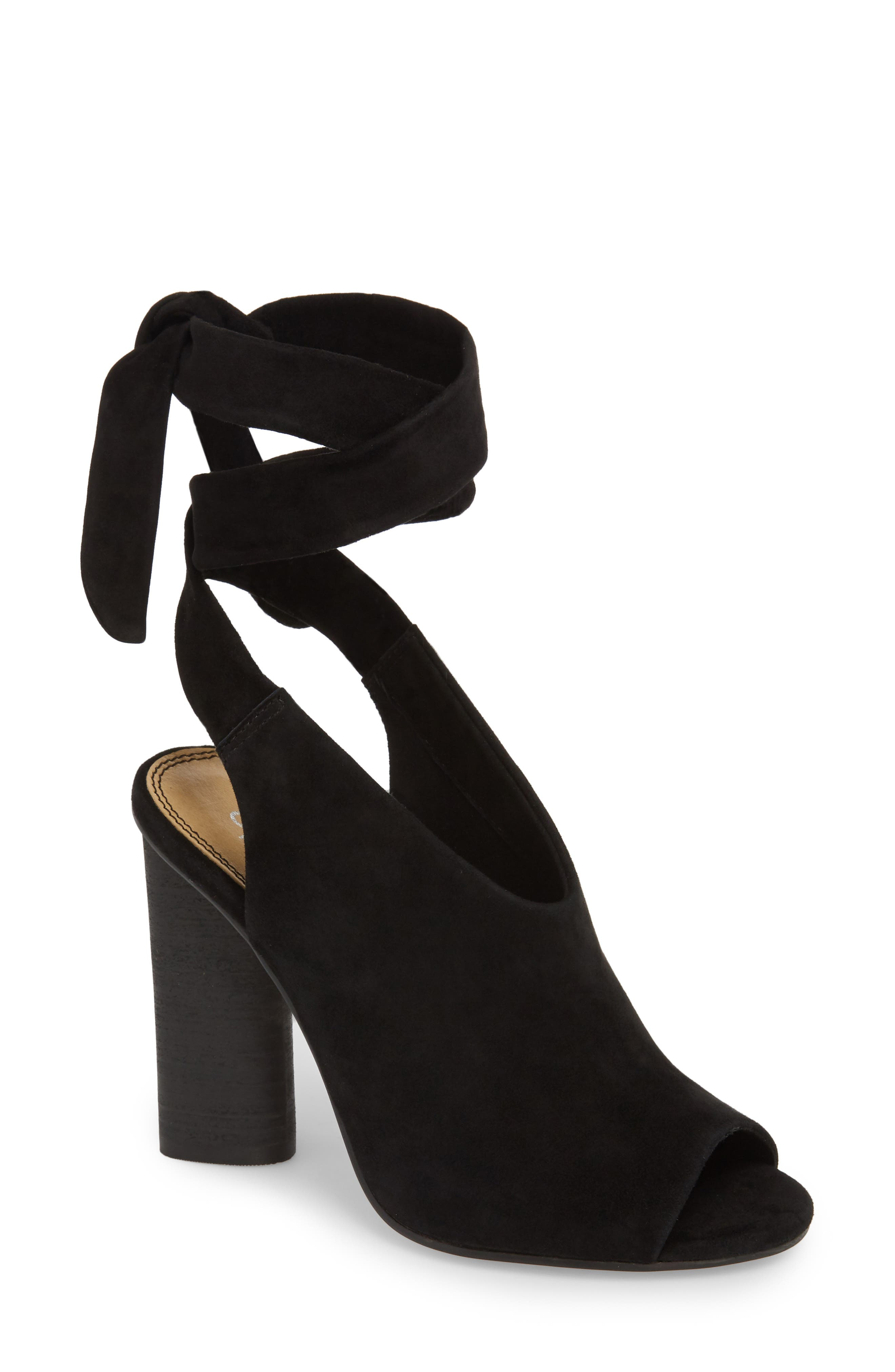Navarro Ankle Wrap Sandal,                             Main thumbnail 1, color,                             BLACK SUEDE