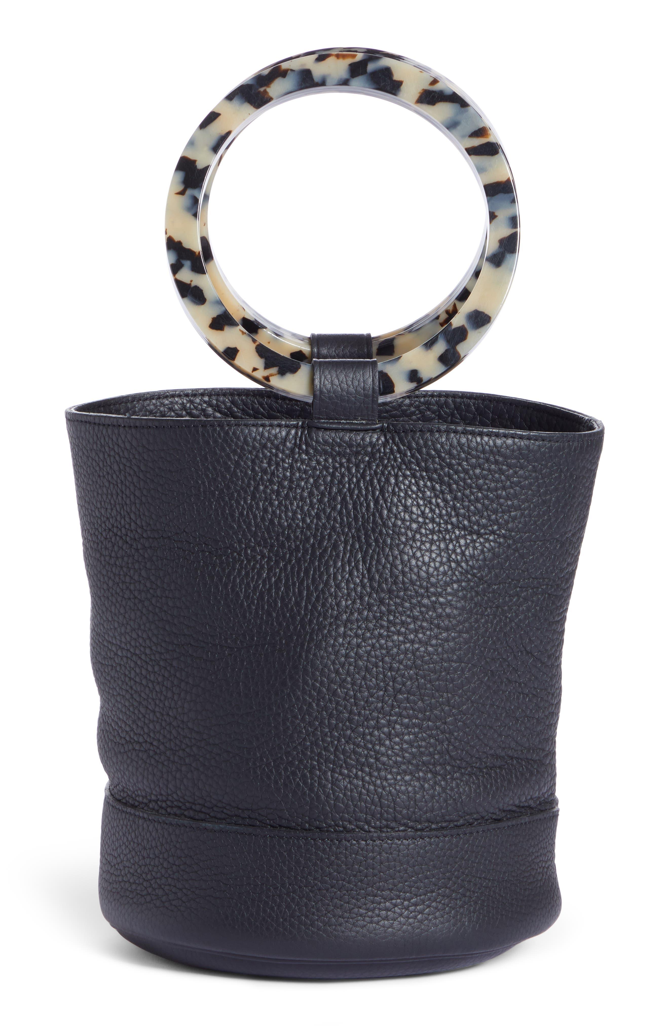 Bonsai 20 Pebbled Leather Bucket Bag,                             Alternate thumbnail 3, color,                             001