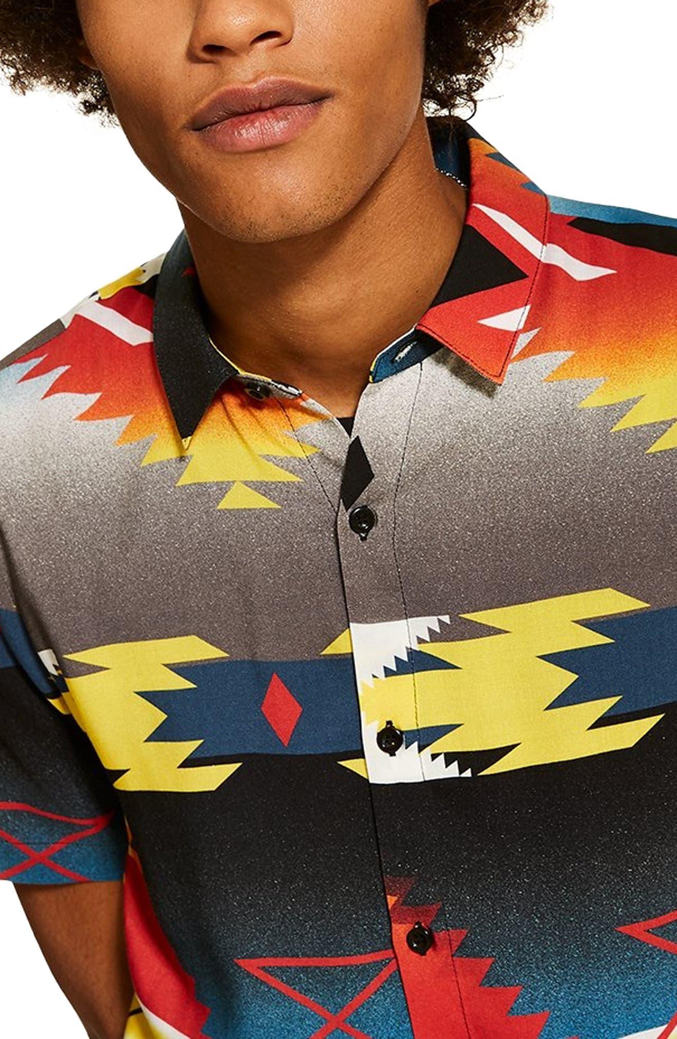 TOPMAN,                             Hyke Print Shirt,                             Alternate thumbnail 2, color,                             BLACK MULTI