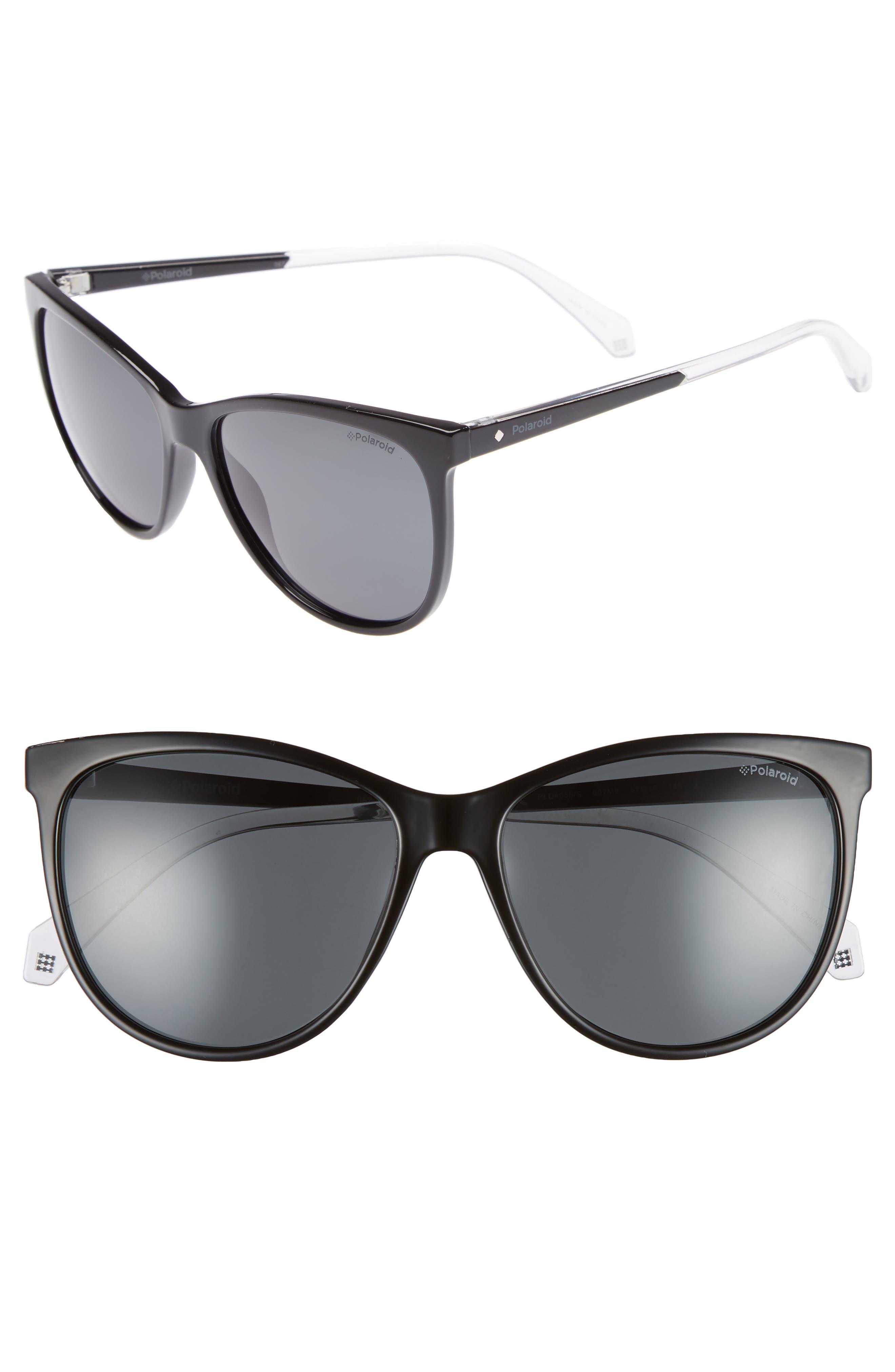 Basic 57mm Polarized Sunglasses,                             Main thumbnail 1, color,                             BLACK
