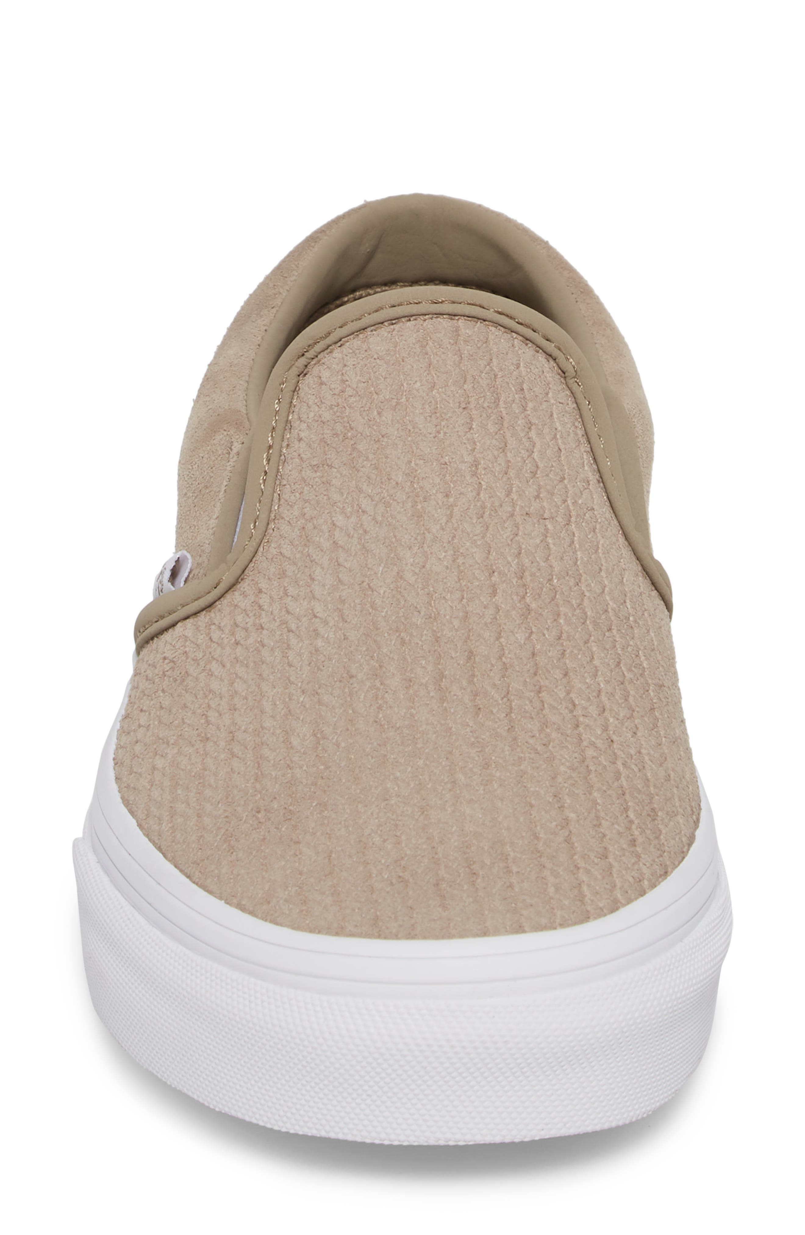 Classic Slip-On Sneaker,                             Alternate thumbnail 4, color,                             DESERT TAUPE/ EMBOSS SUEDE