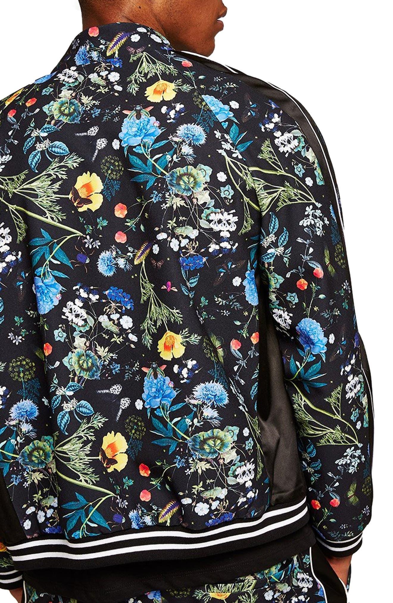 Floral Track Jacket,                             Alternate thumbnail 2, color,                             BLACK MULTI