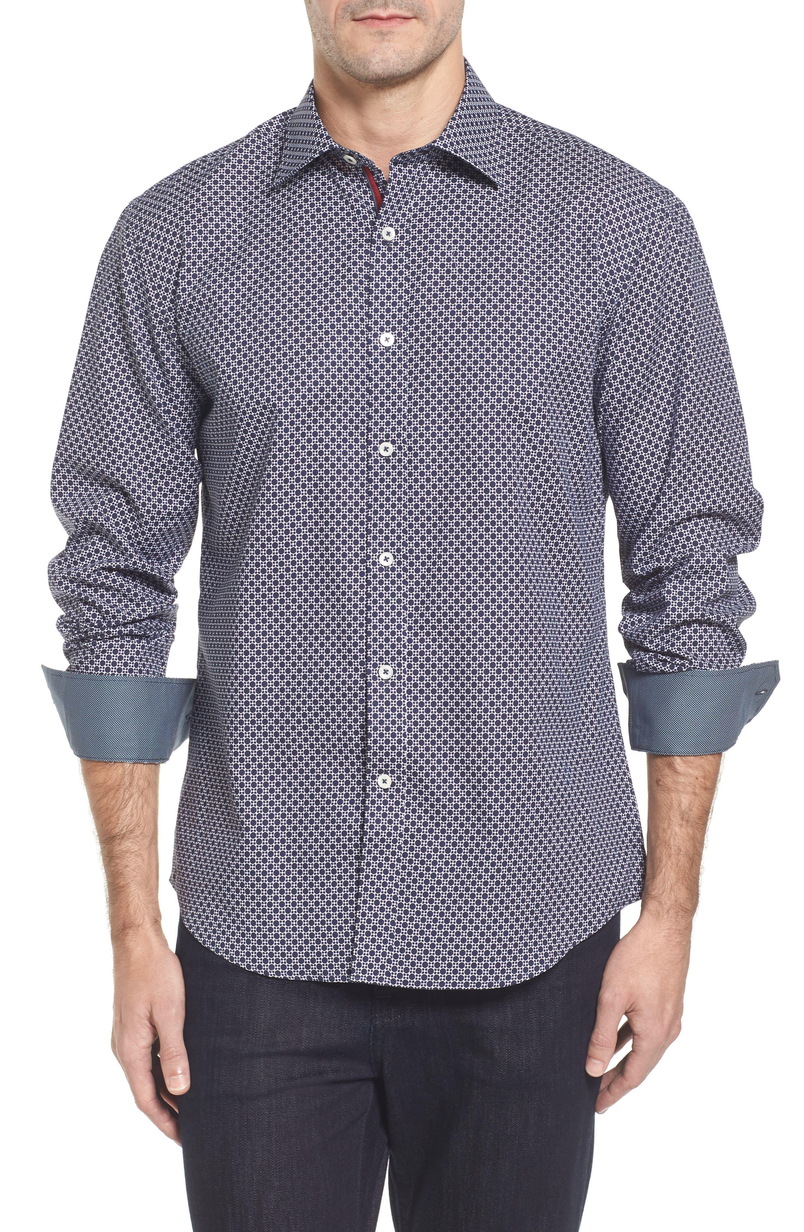 Classic Fit Dot Print Sport Shirt,                         Main,                         color,