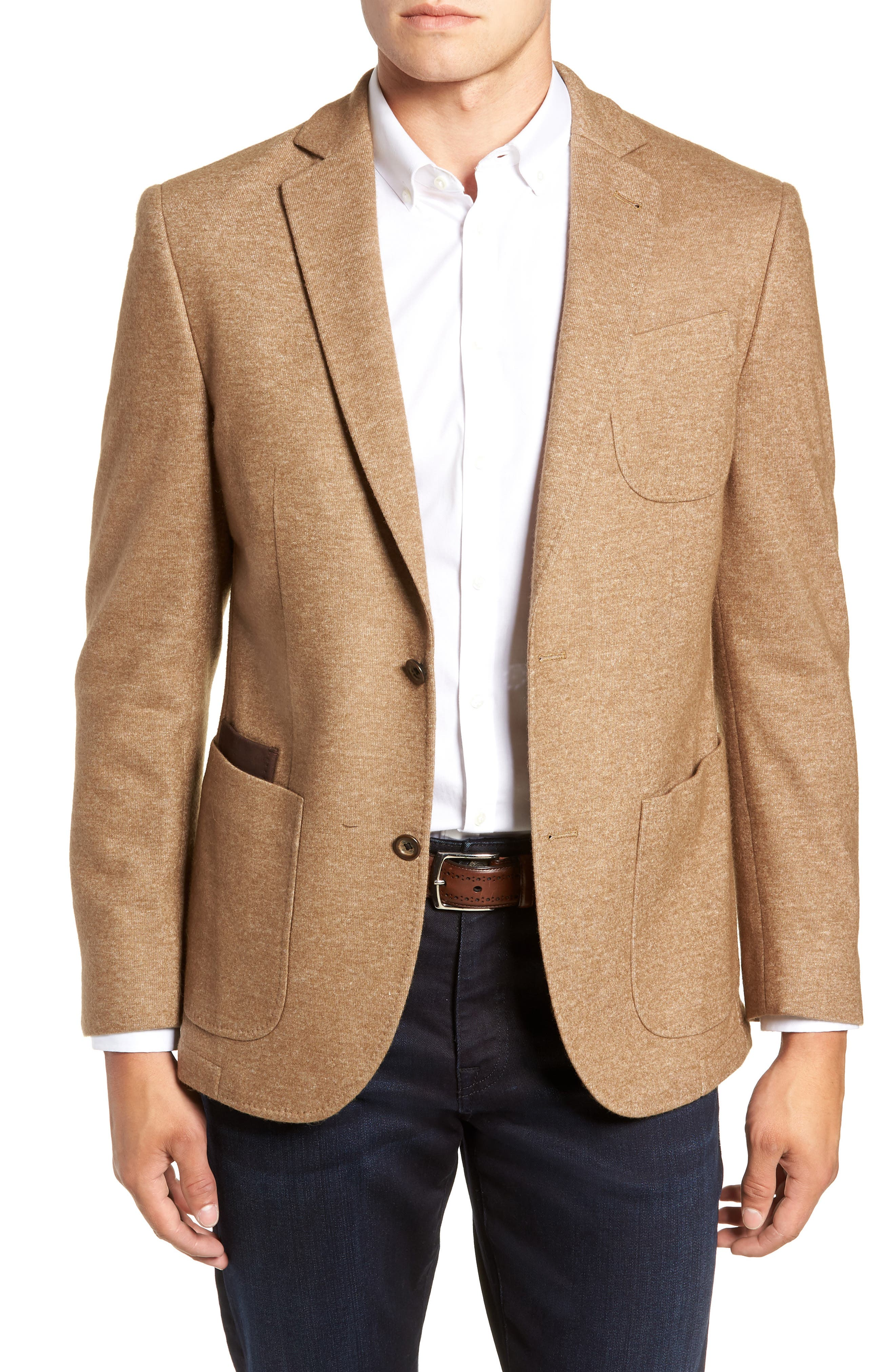 Regular Fit Knit Wool Blend Sport Coat,                             Main thumbnail 1, color,                             TAN