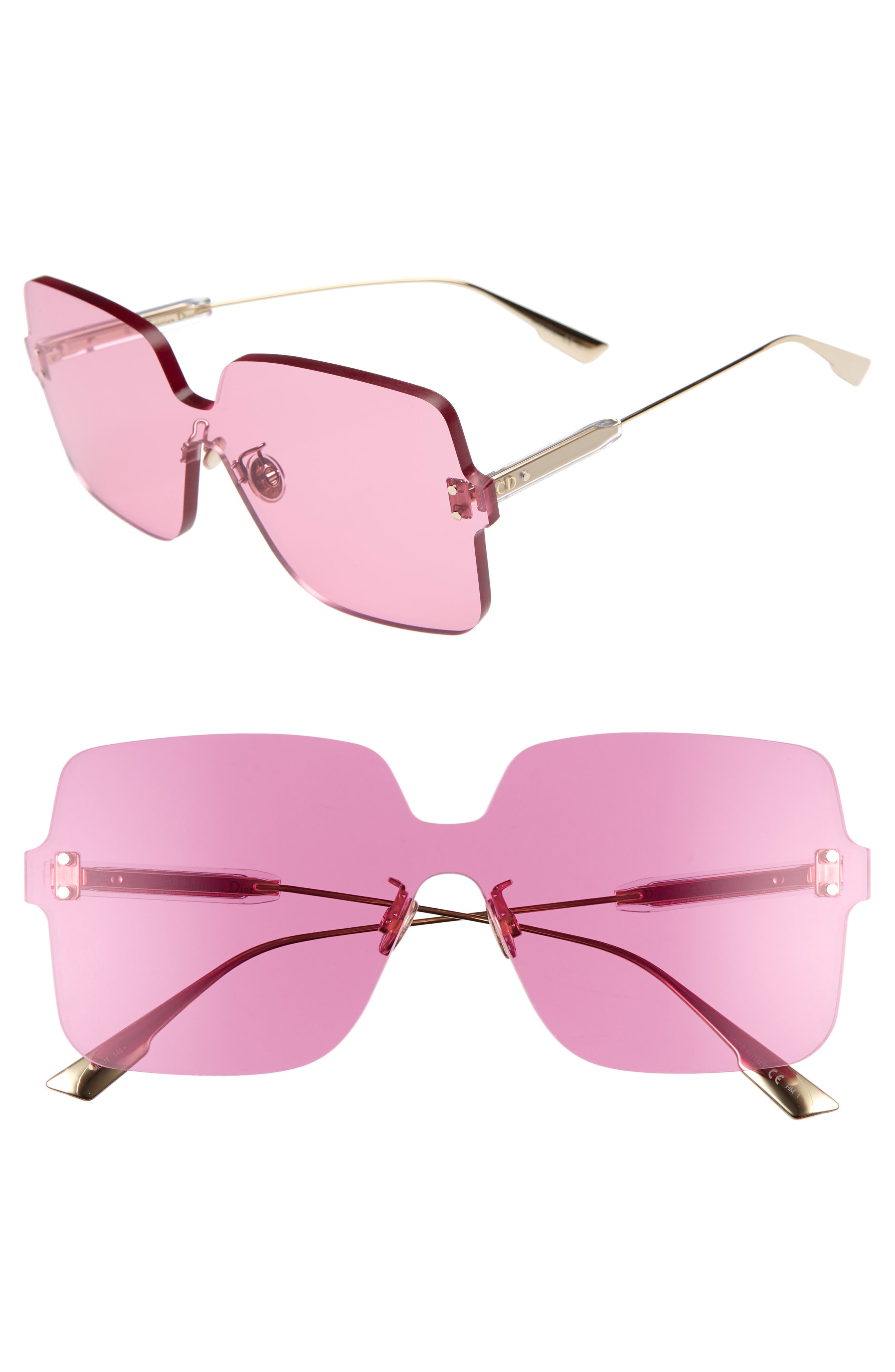Christian Dior Quake1 147Mm Square Rimless Shield Sunglasses - Fuchsia