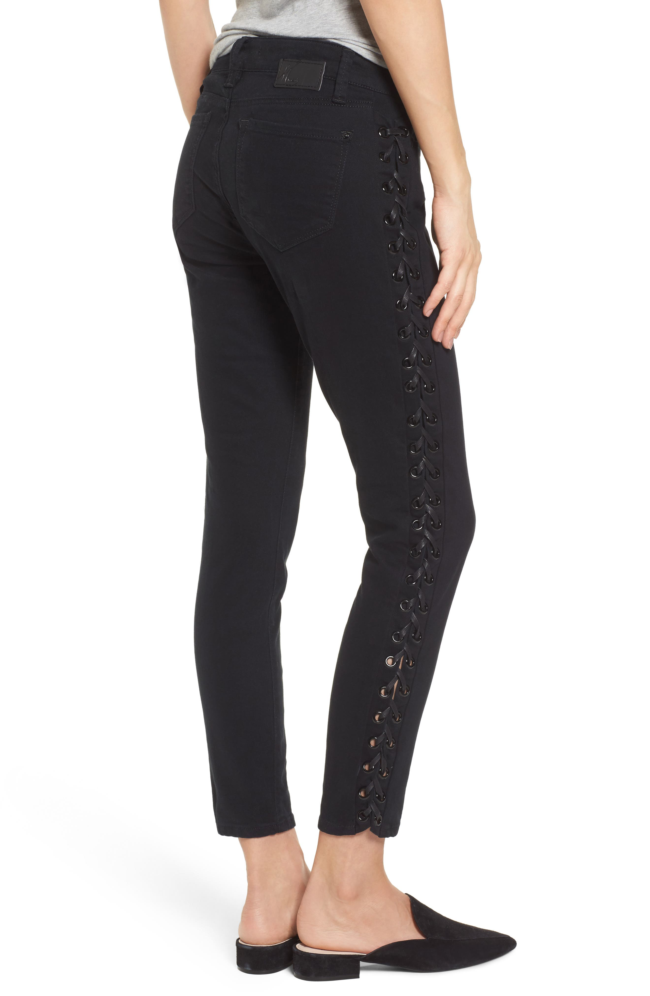 Adriana Lace-Up Super Skinny Jeans,                             Alternate thumbnail 2, color,                             001