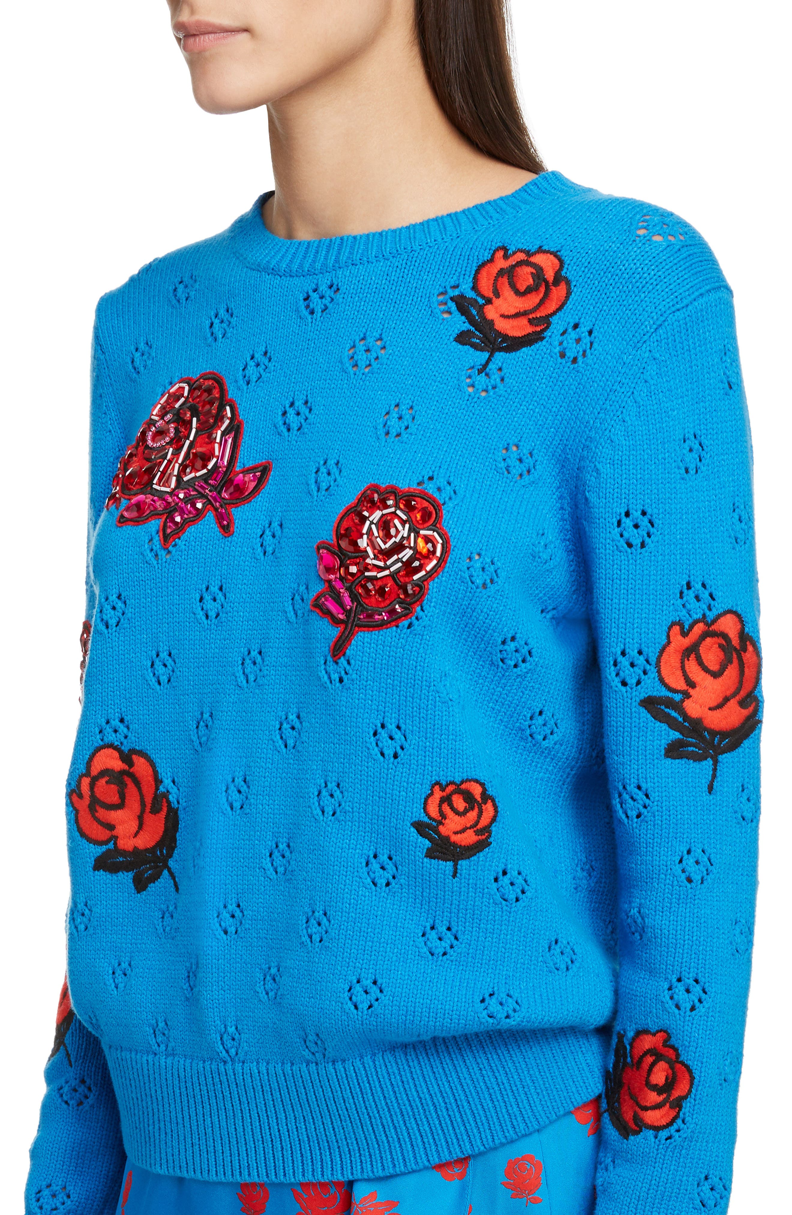 Floral Patch Sweater,                             Alternate thumbnail 4, color,                             FRENCH BLUE